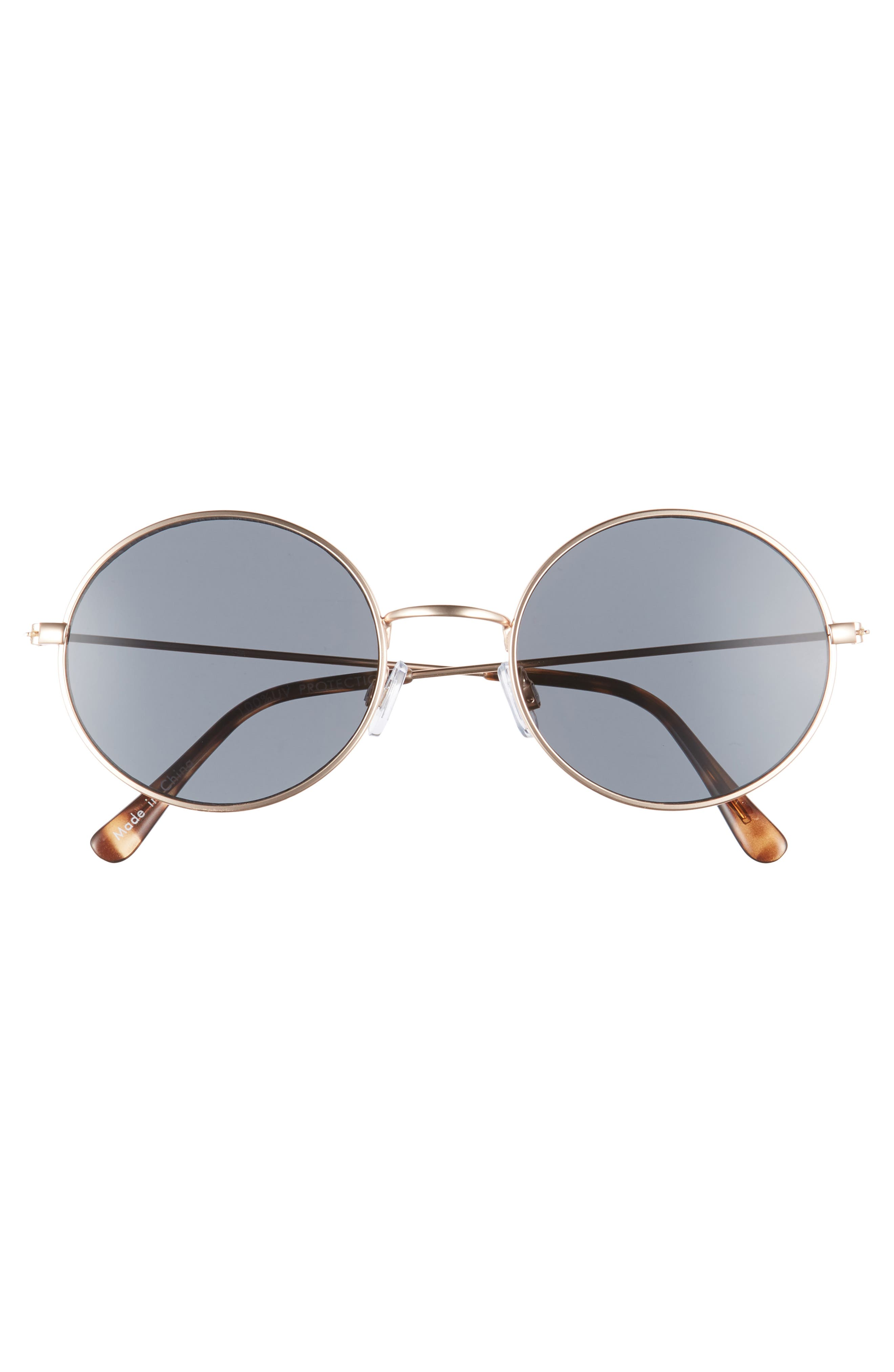 53mm Flat Round Sunglasses,                             Alternate thumbnail 3, color,                             GOLD/ BLACK