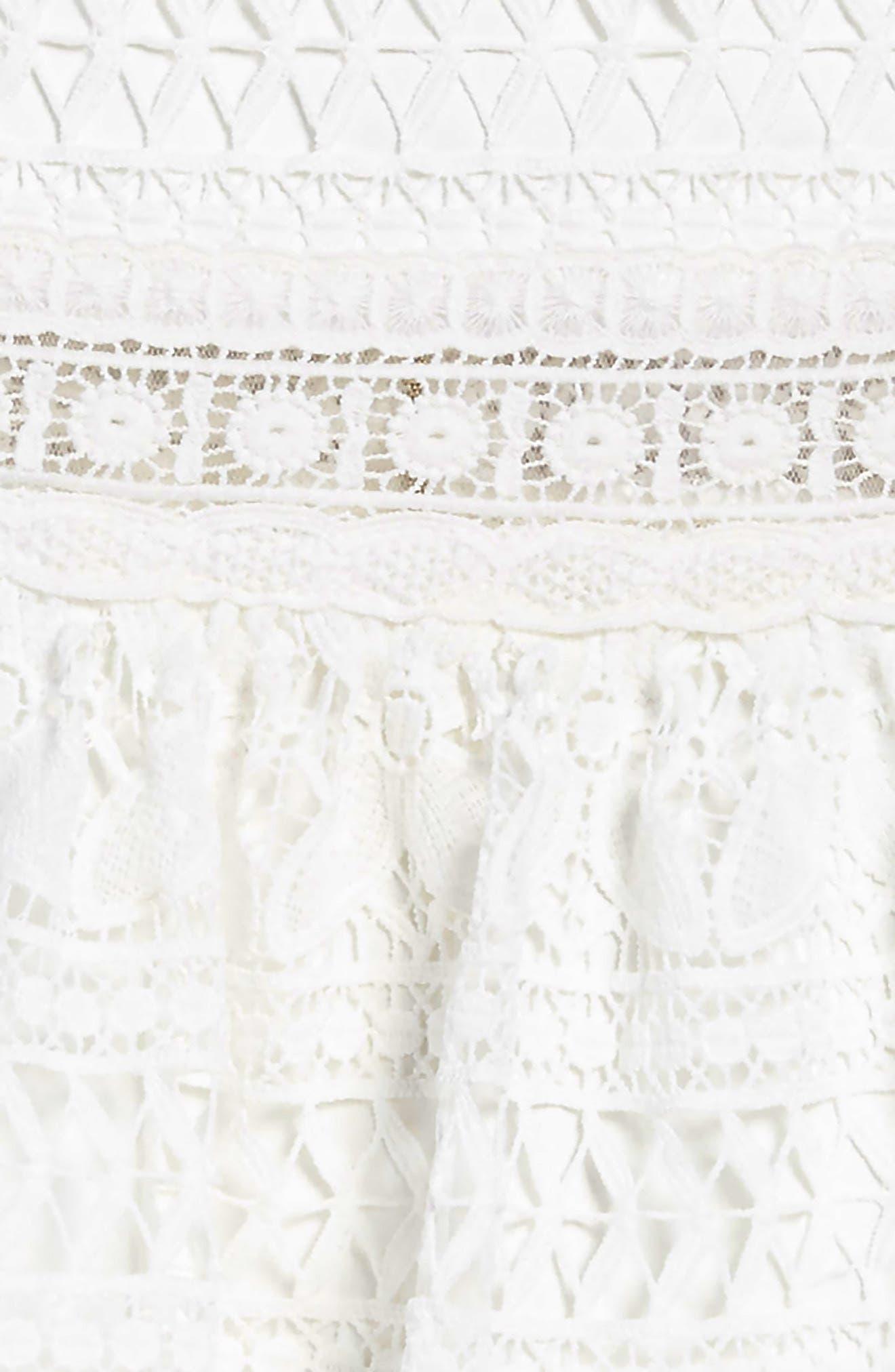 Fringe Trim Lace Dress,                             Alternate thumbnail 3, color,