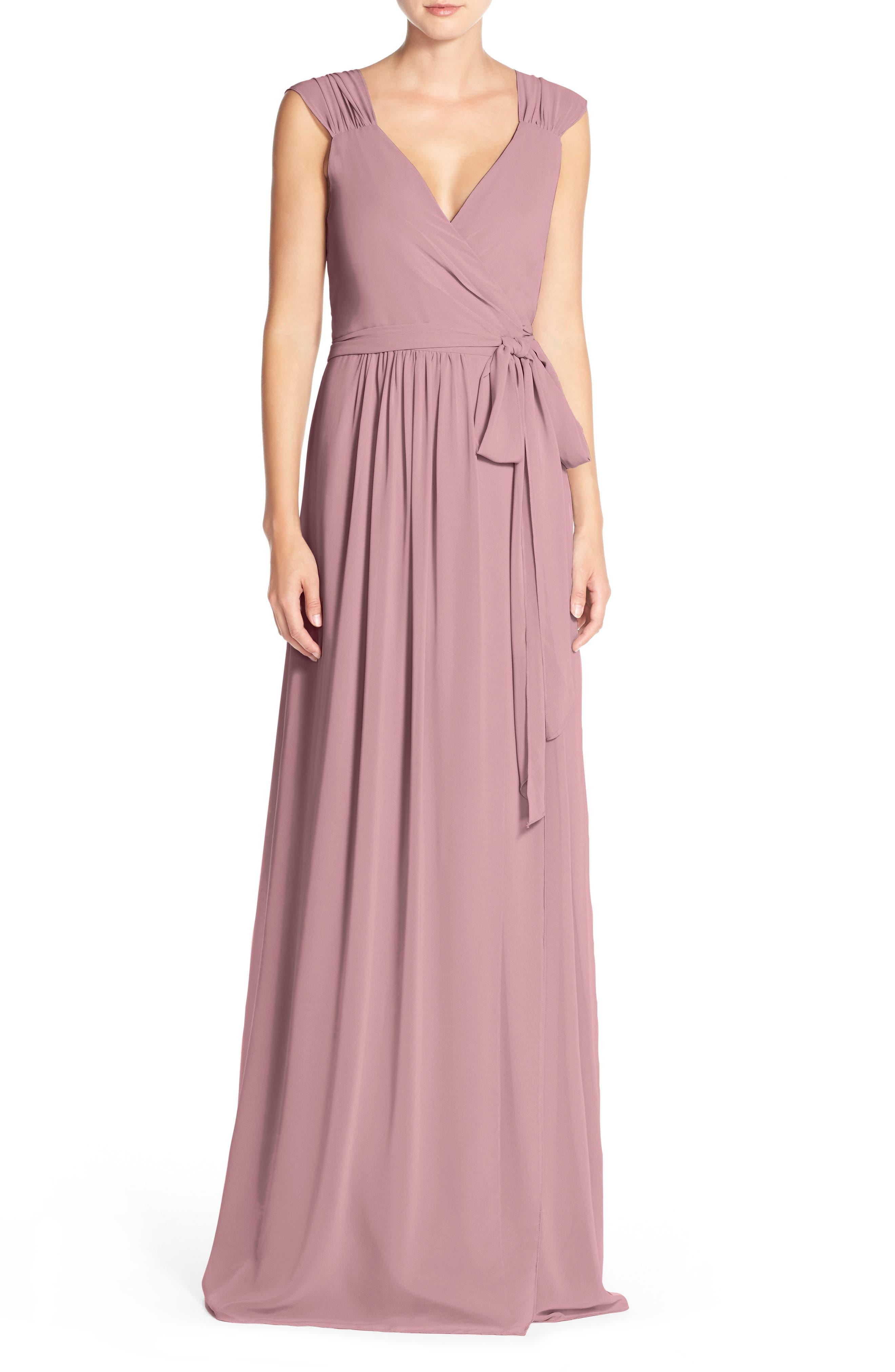 Newbury Gathered Sleeve Chiffon Wrap Gown,                             Alternate thumbnail 18, color,