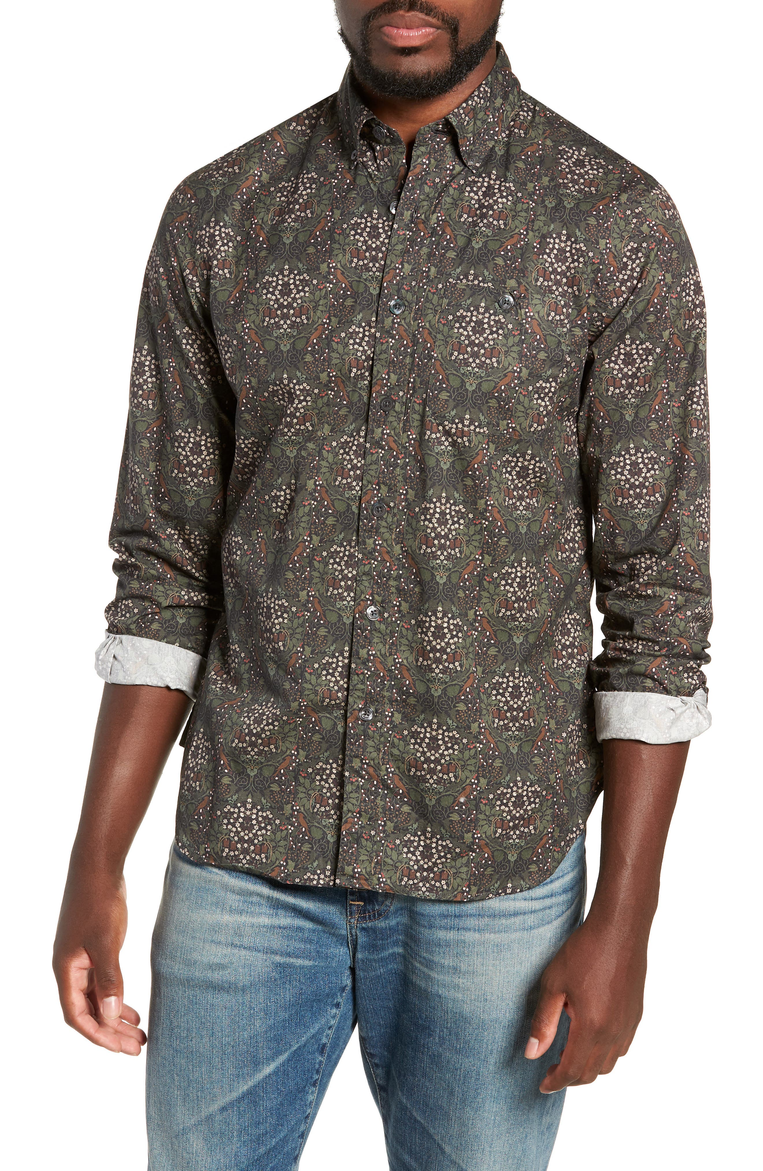 Classic Fit Thomas Mason Floral Sport Shirt,                         Main,                         color, OLIVE