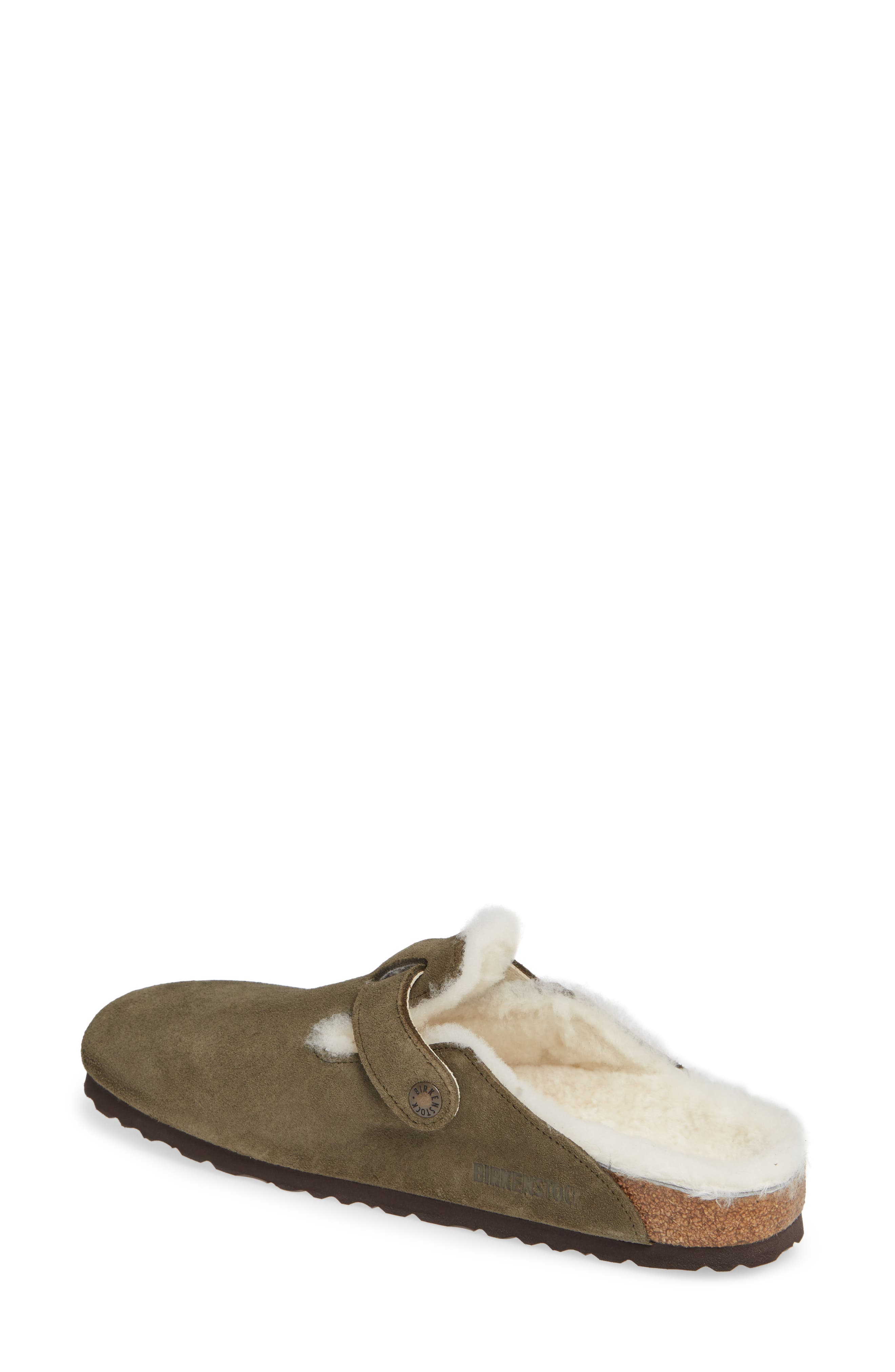 'Boston' Genuine Shearling Lined Clog,                             Alternate thumbnail 2, color,                             FOREST/ NATURAL SUEDE