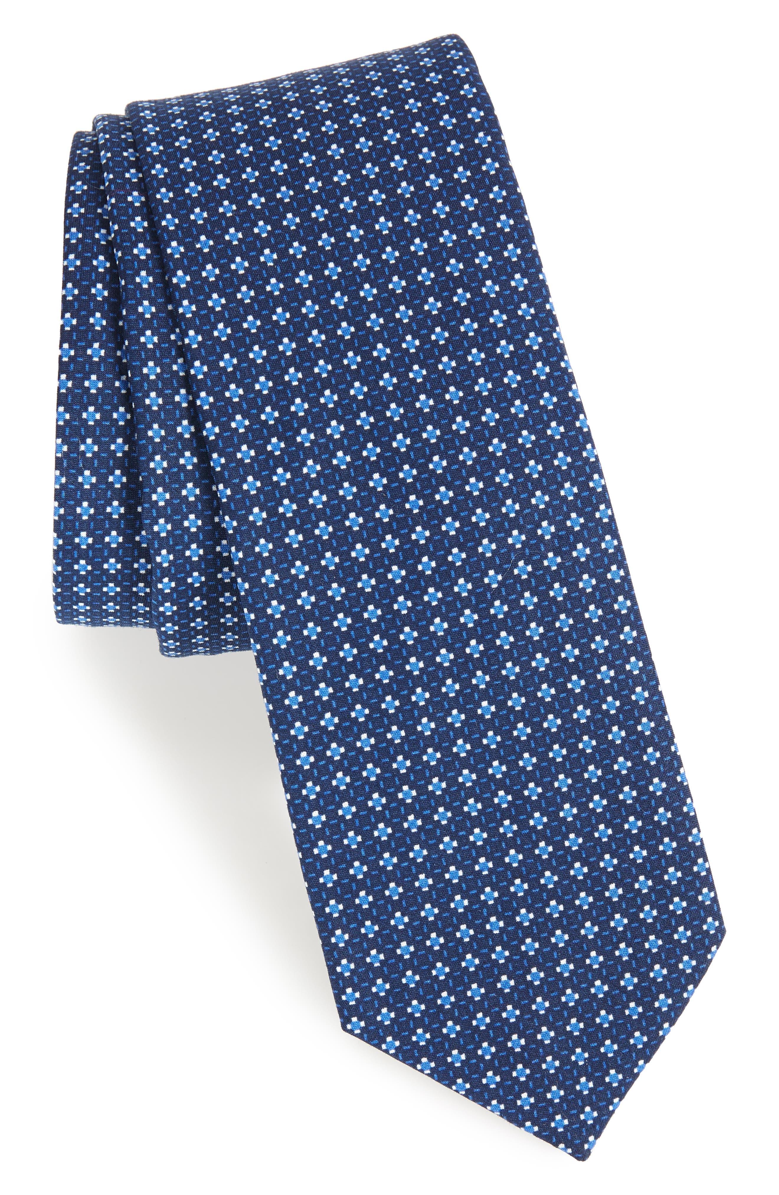 Olympos Geometric Cotton Tie,                             Main thumbnail 2, color,