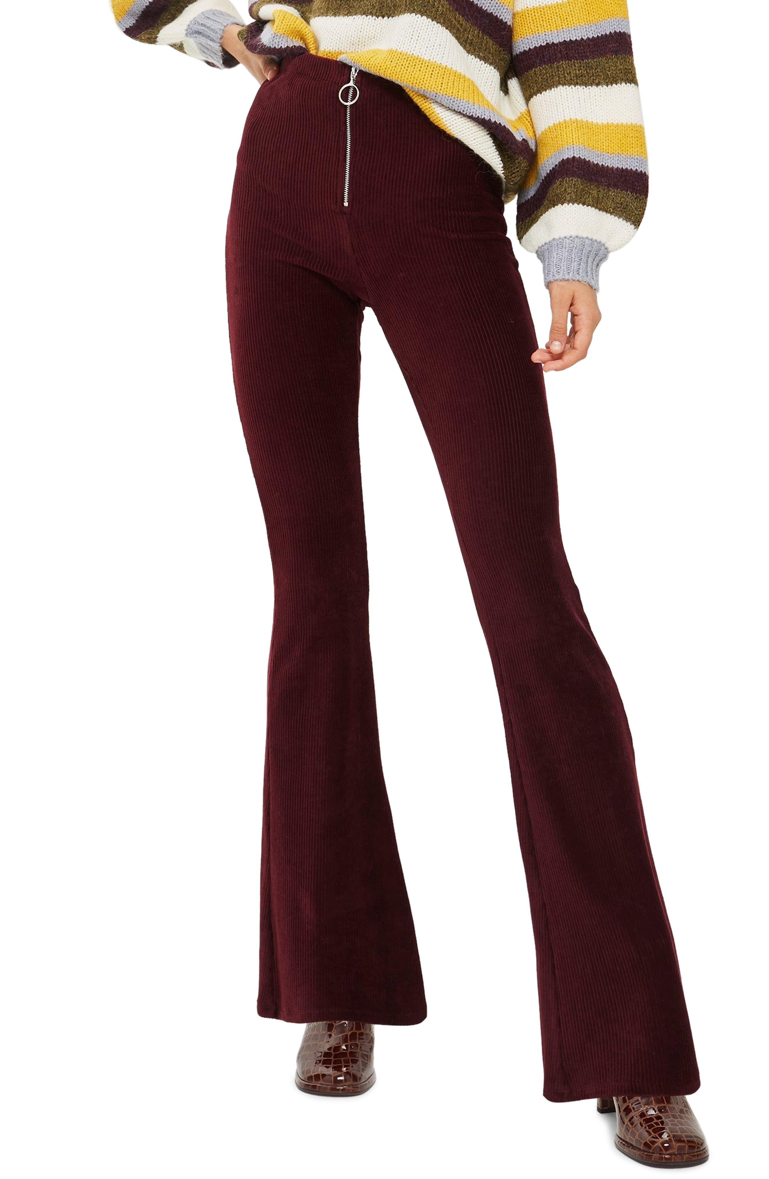 Topshop Zip Flare Corduroy Pants, US (fits like 10-12) - Burgundy
