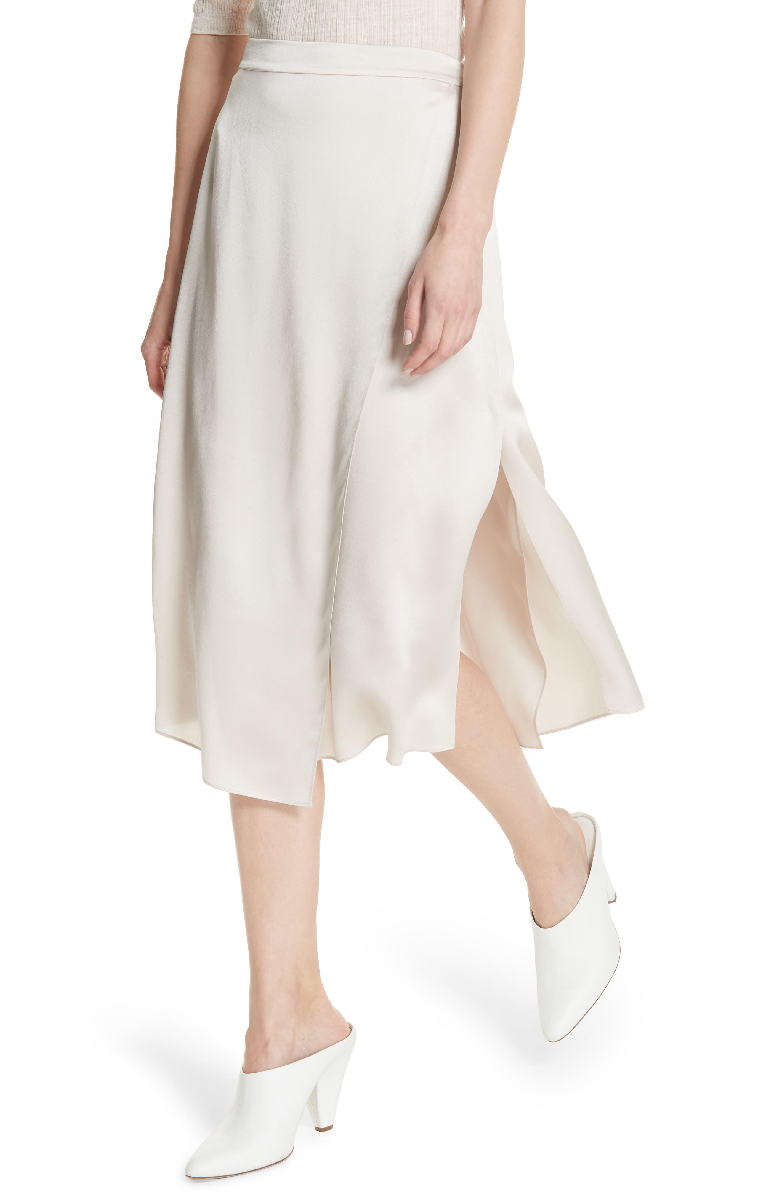 Drape Panel Silk Skirt,                             Alternate thumbnail 4, color,                             292