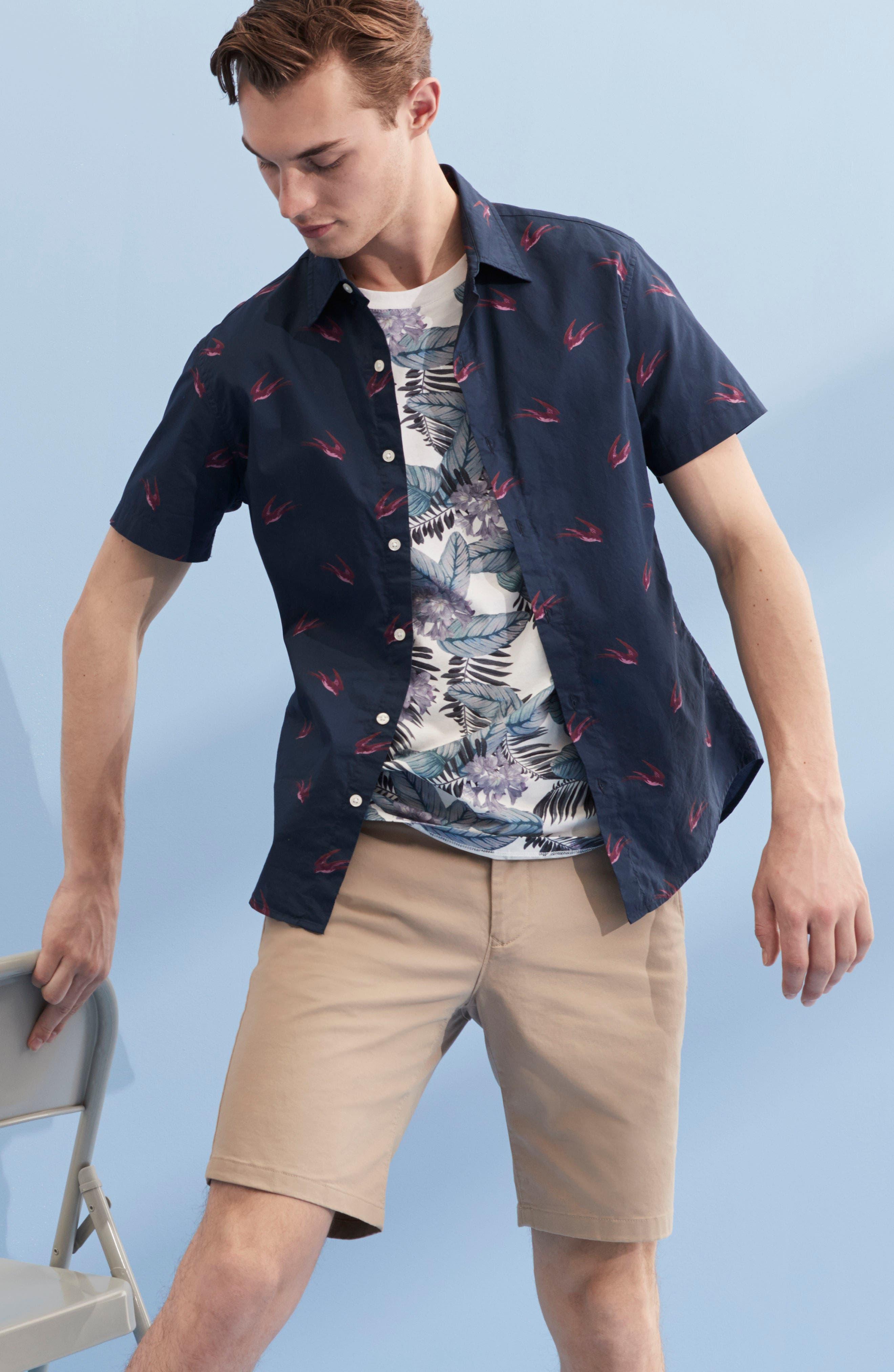 Riviera Slim Fit Leafy Print Sport Shirt,                             Alternate thumbnail 7, color,                             100