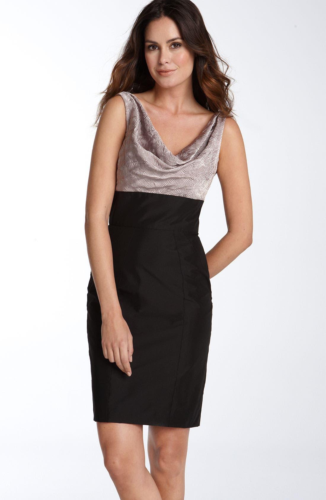 MAGGY LONDON Charmeuse Bodice Sheath Dress, Main, color, 001