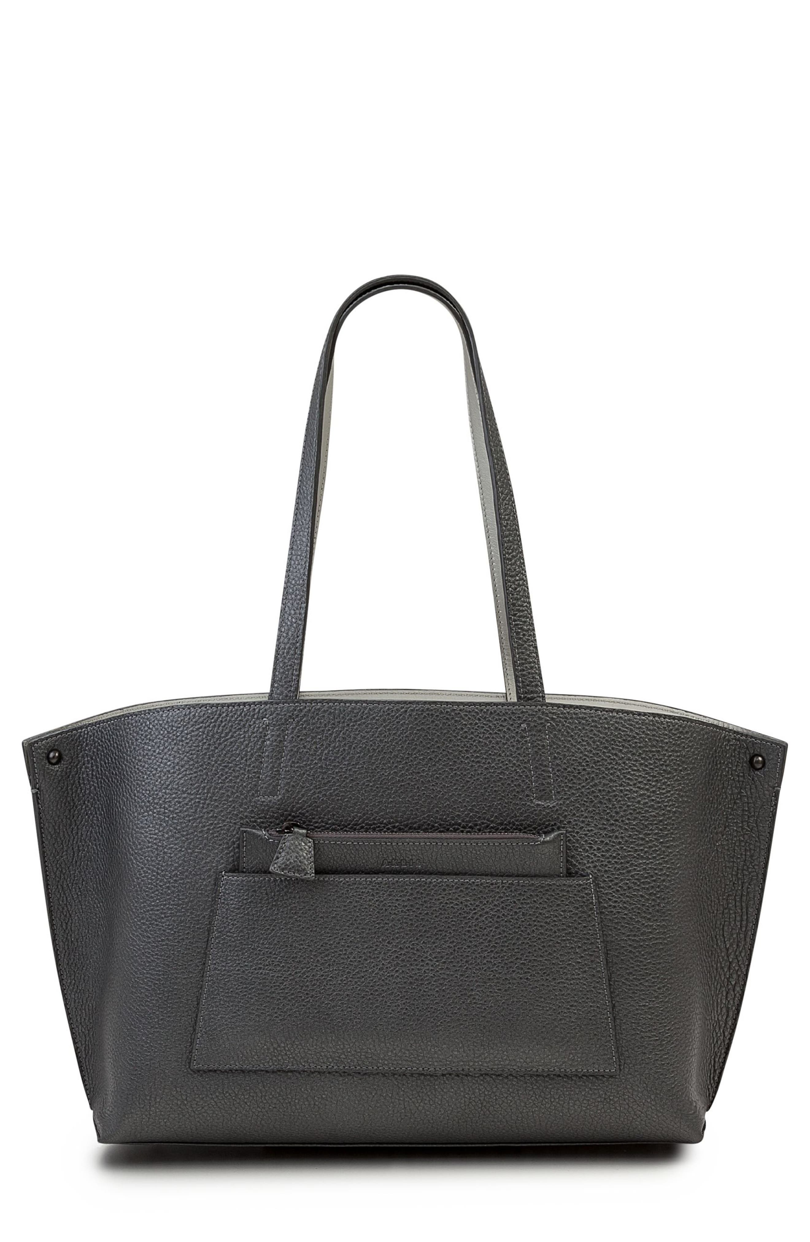 Small AI Reversible Leather Tote,                             Main thumbnail 1, color,                             GREY METALLIC/ LIGHT SILVER