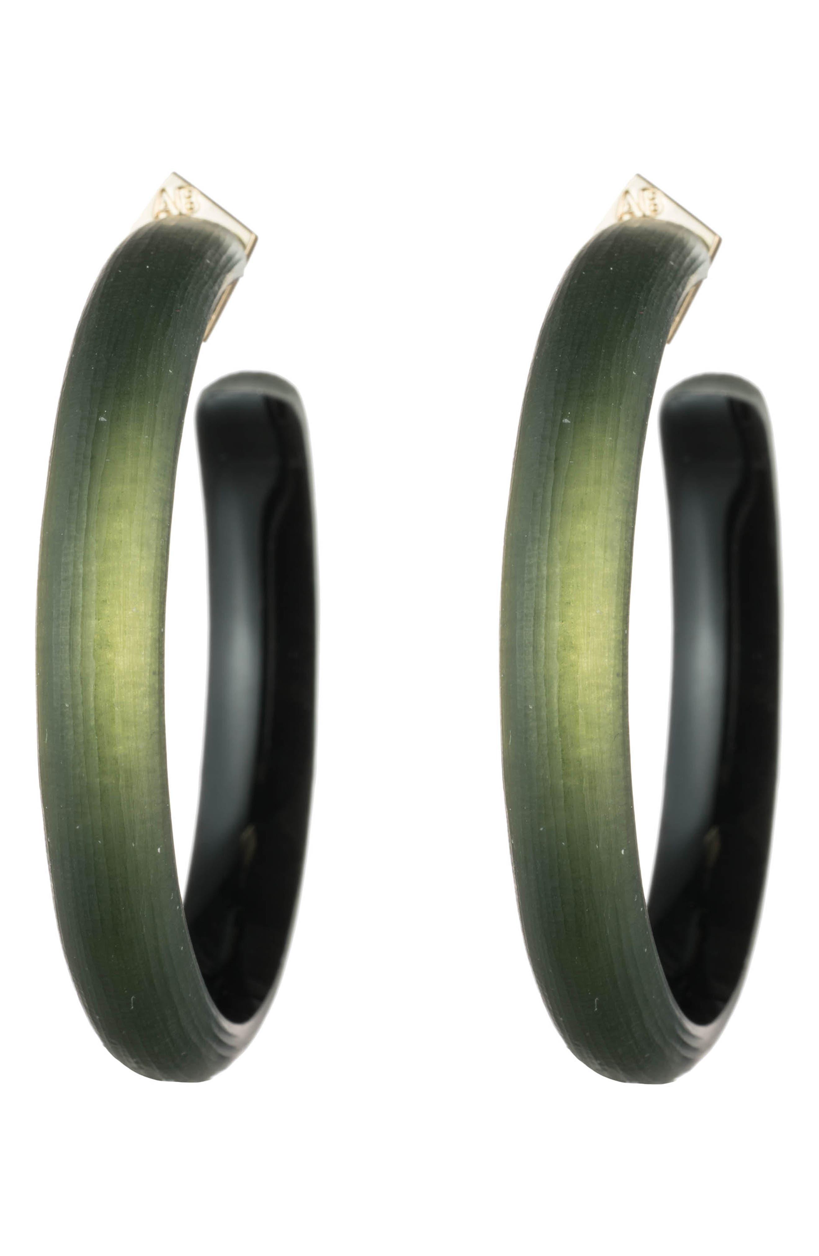 Large Hoop Earrings,                             Main thumbnail 1, color,                             DARK SAGE