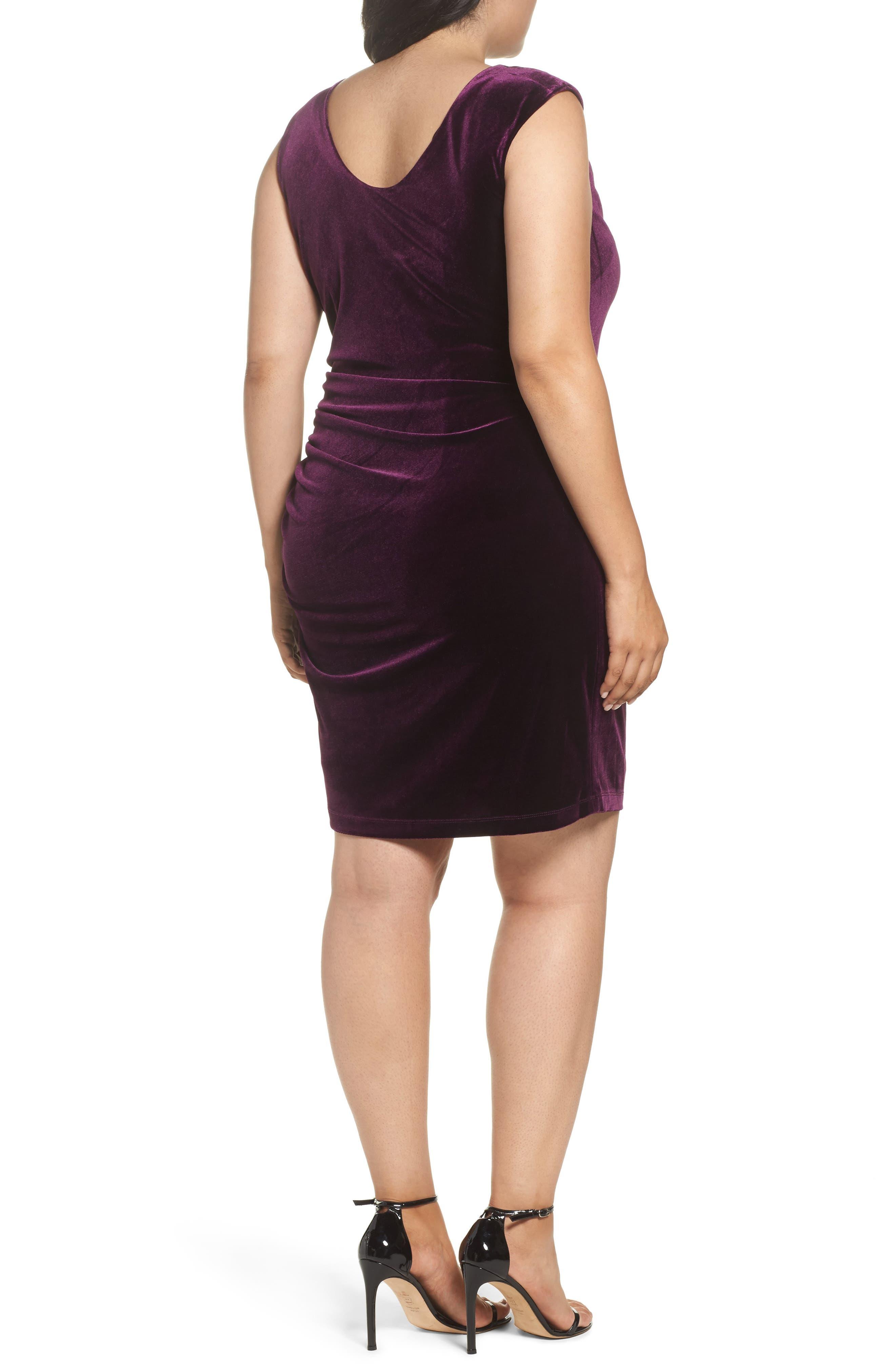 Velvet Body-Con Dress,                             Alternate thumbnail 2, color,