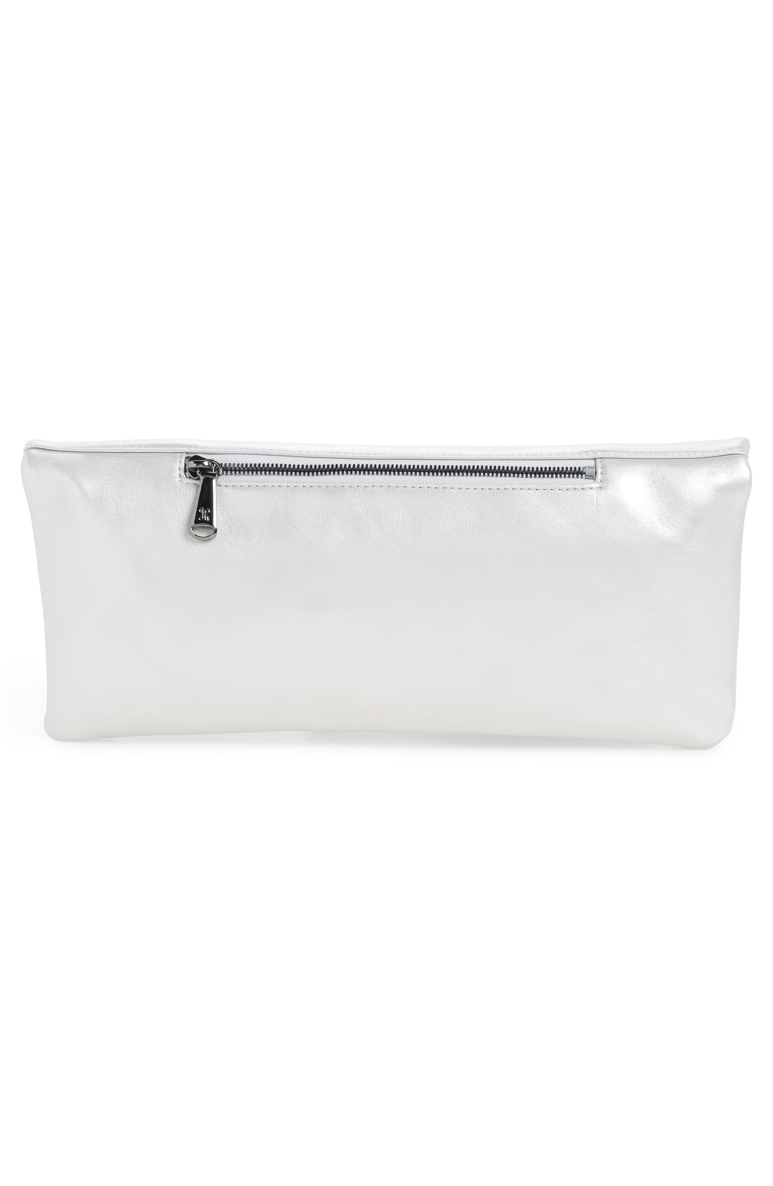 Raine Calfskin Leather Foldover Clutch,                             Alternate thumbnail 9, color,