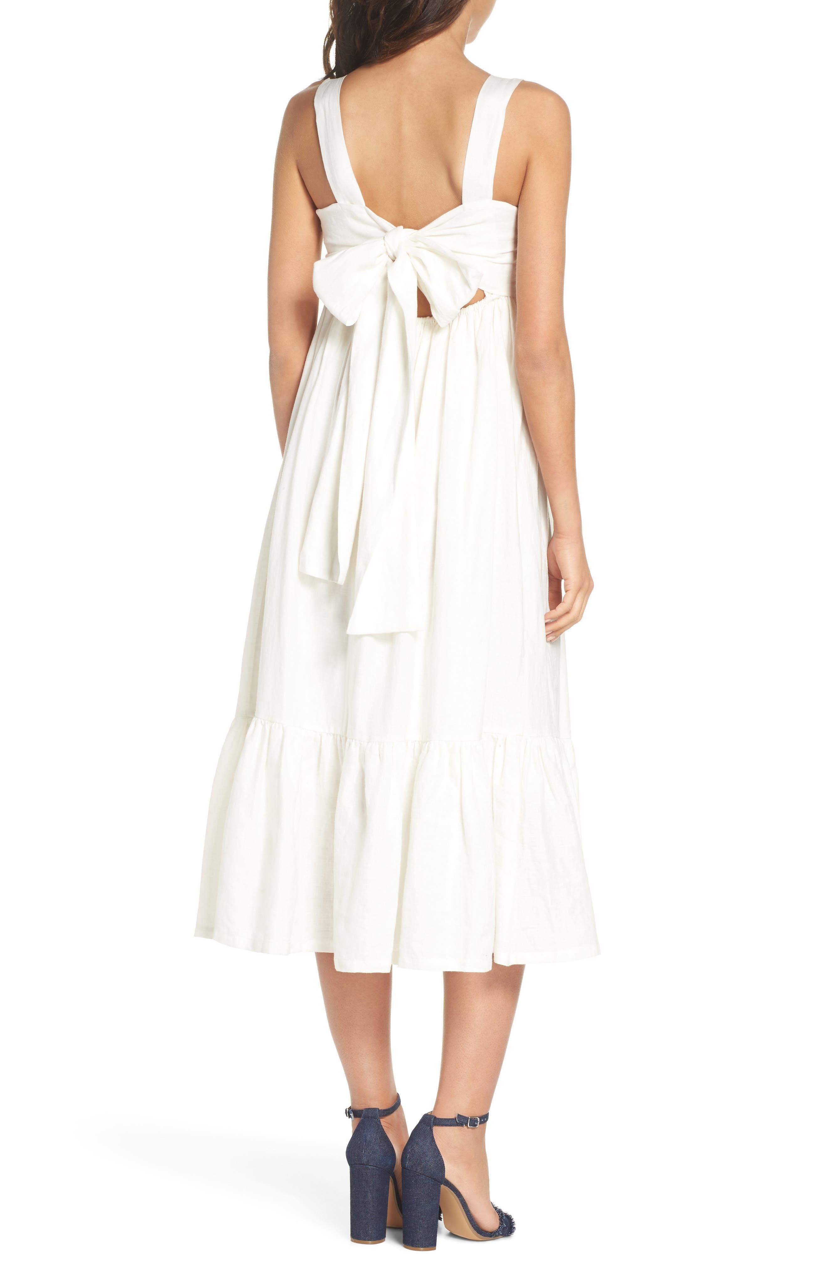 Forget Me Not Linen Midi Dress,                             Alternate thumbnail 2, color,                             100
