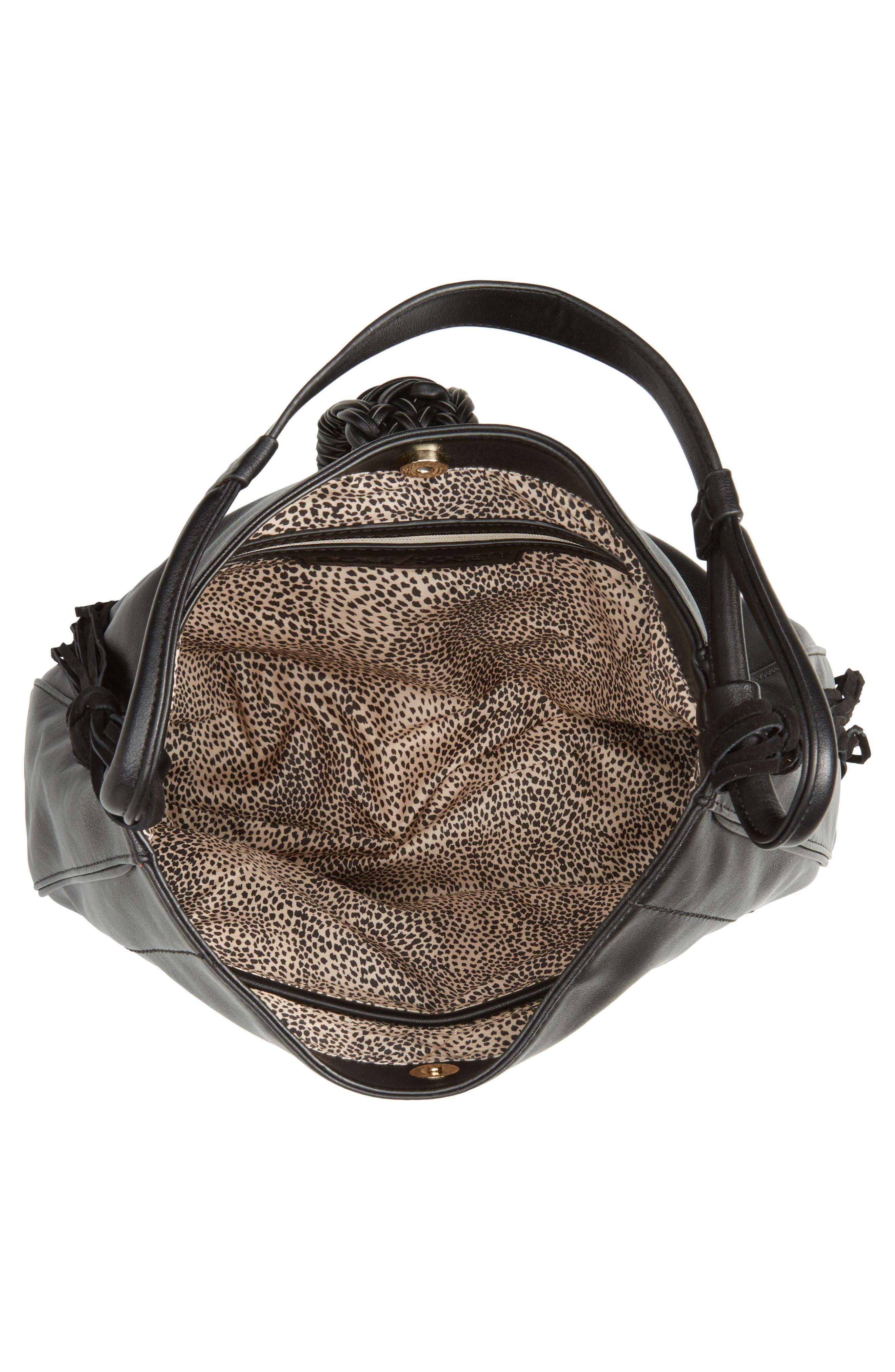 Vale Faux Leather Hobo Bag,                             Alternate thumbnail 4, color,                             001