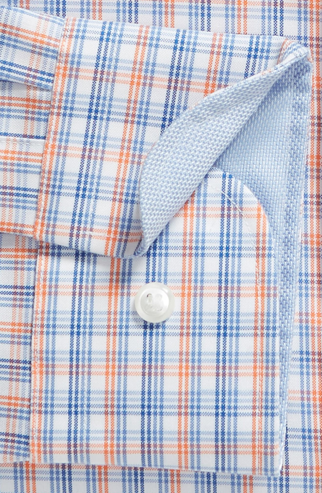 Trim Fit Non-Iron Plaid Dress Shirt,                             Alternate thumbnail 6, color,                             CORAL REEF