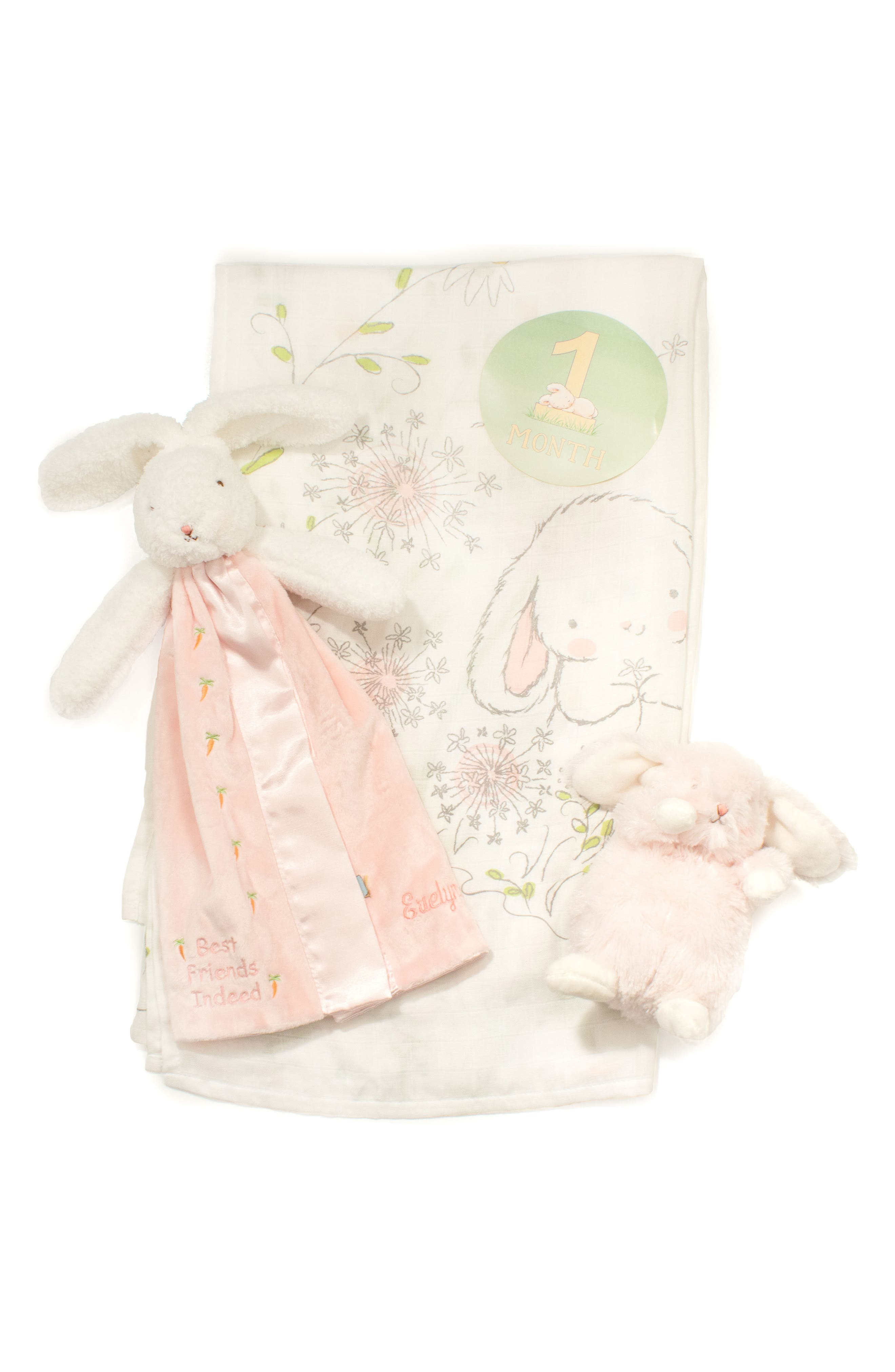 Growing Like a Weed Milestone Stickers, Swaddle Blanket, Lovie & Stuffed Animal Set,                             Main thumbnail 1, color,                             SWEET AND TENDER WHITE