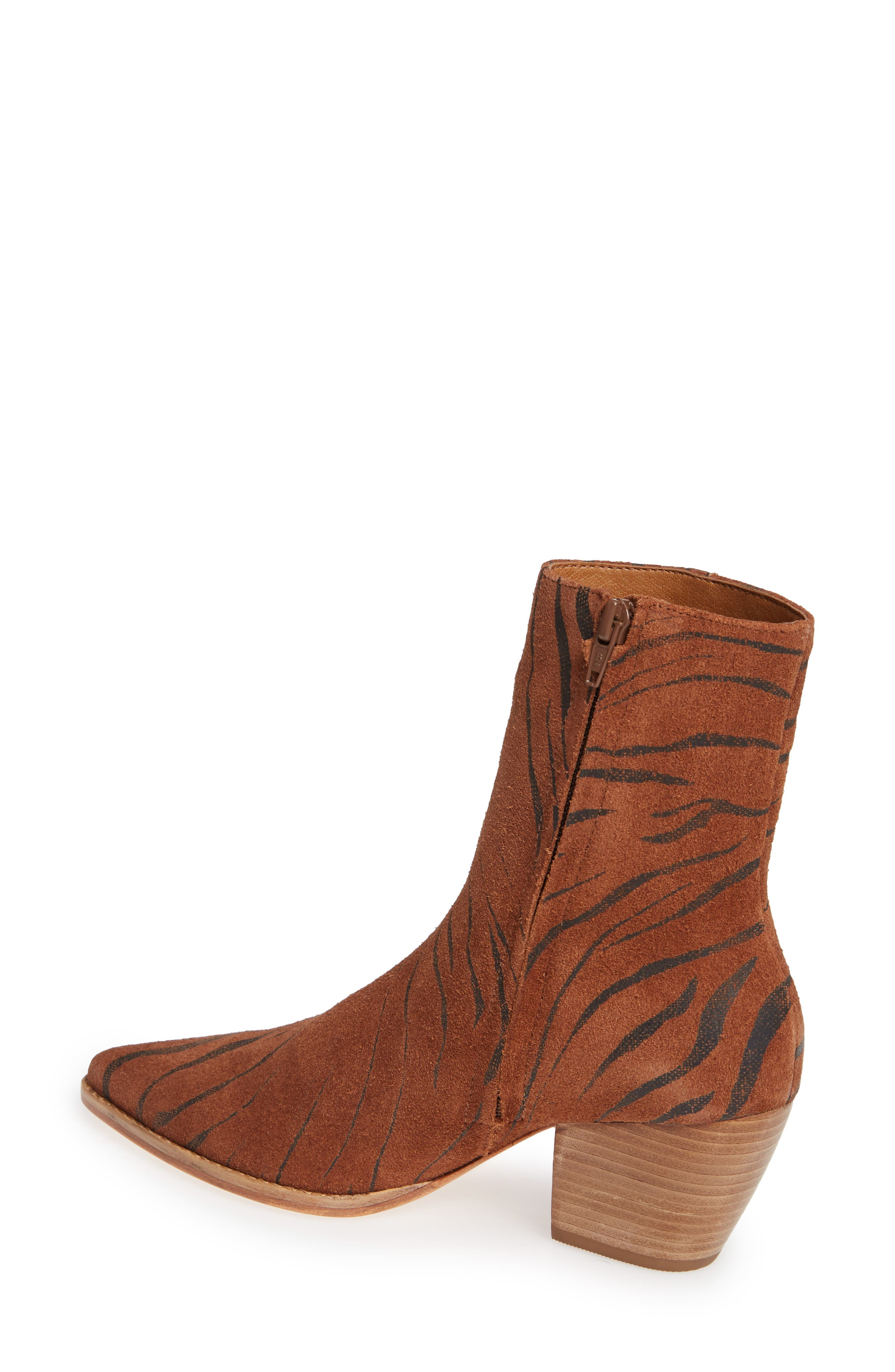 Caty Western Pointy Toe Bootie,                             Alternate thumbnail 2, color,                             TIGER SUEDE