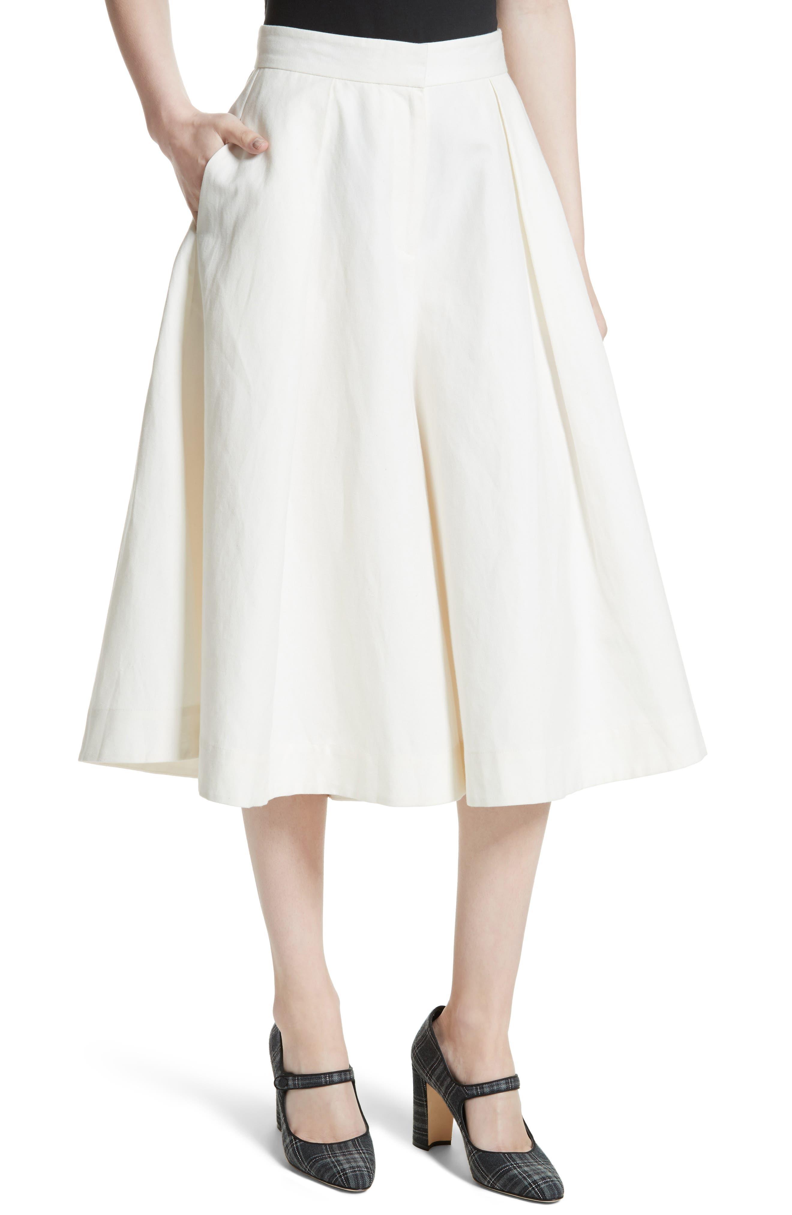 Linen & Cotton Crop Wide Leg Pants,                             Alternate thumbnail 4, color,                             900