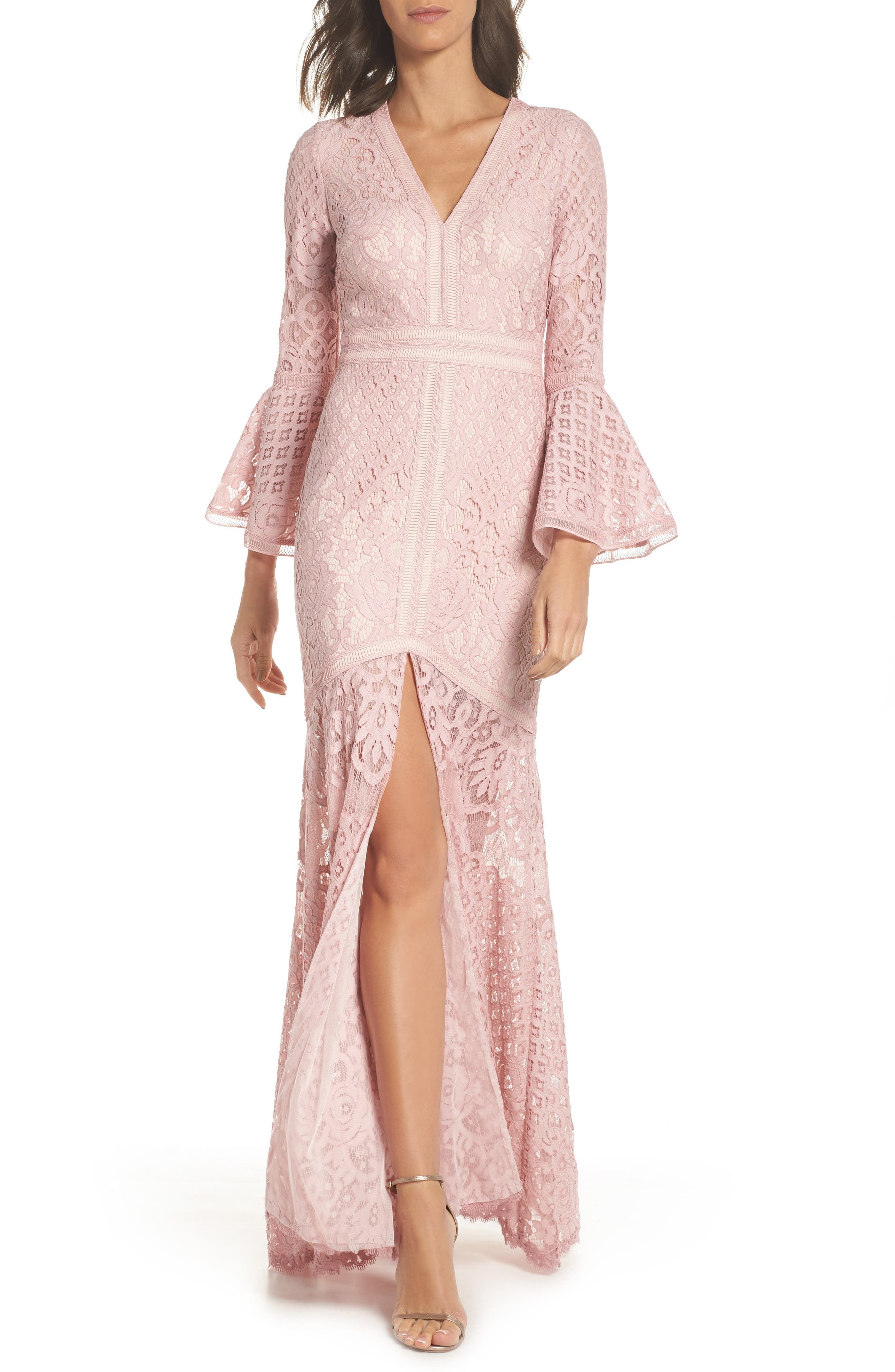Bell Sleeve Lace Gown,                             Main thumbnail 1, color,