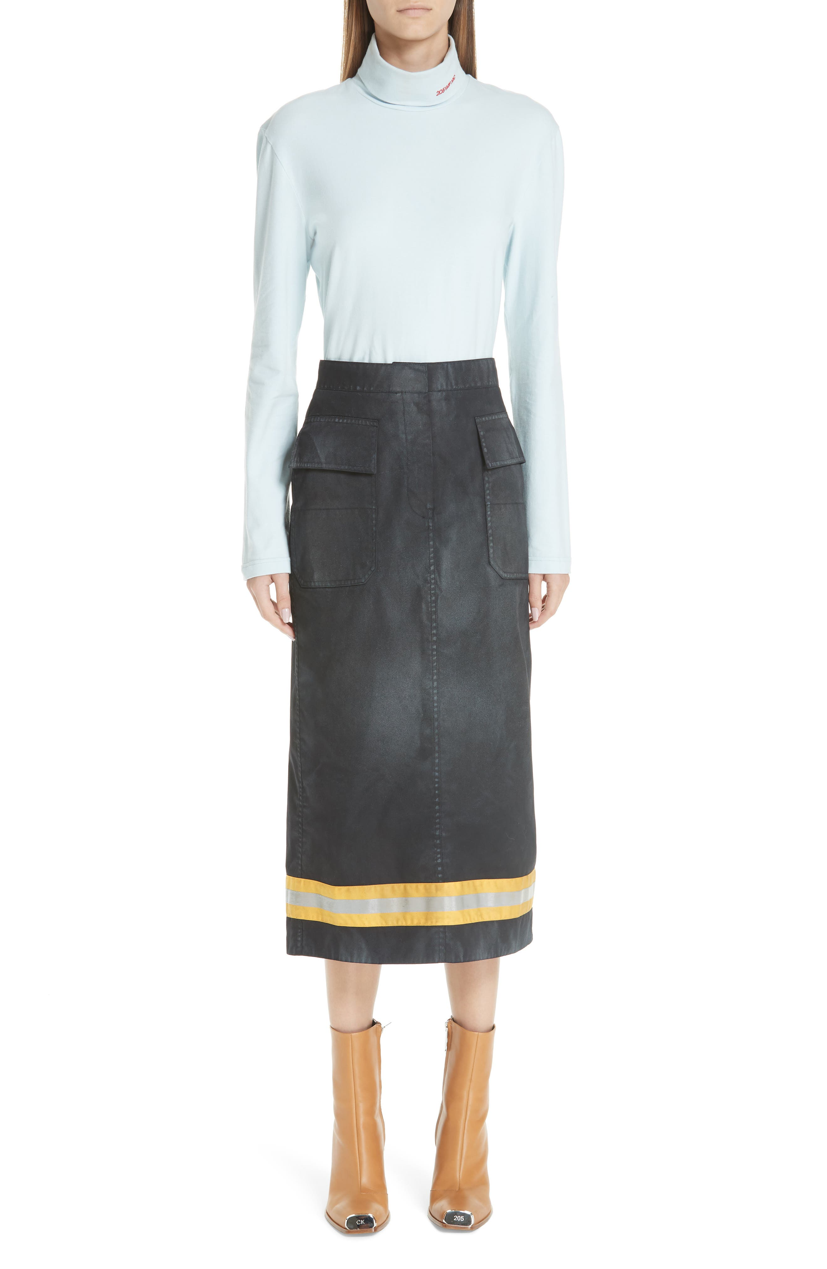 Fireman Skirt,                             Alternate thumbnail 7, color,                             BLACK