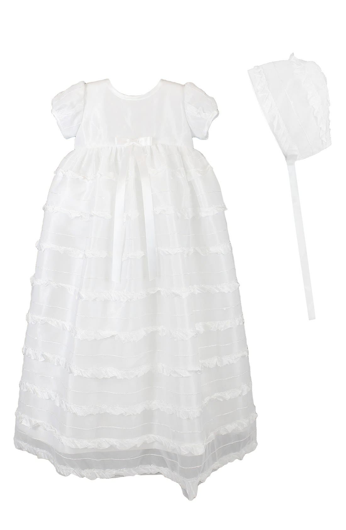 C.I. Castro & Co 'Eyelash' Christening Gown & Bonnet,                             Main thumbnail 1, color,                             WHITE