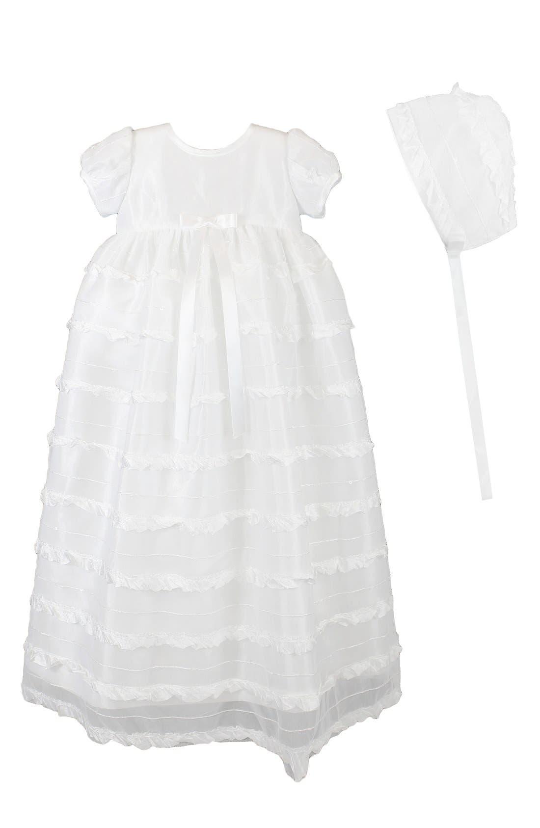 C.I. Castro & Co 'Eyelash' Christening Gown & Bonnet,                         Main,                         color, WHITE
