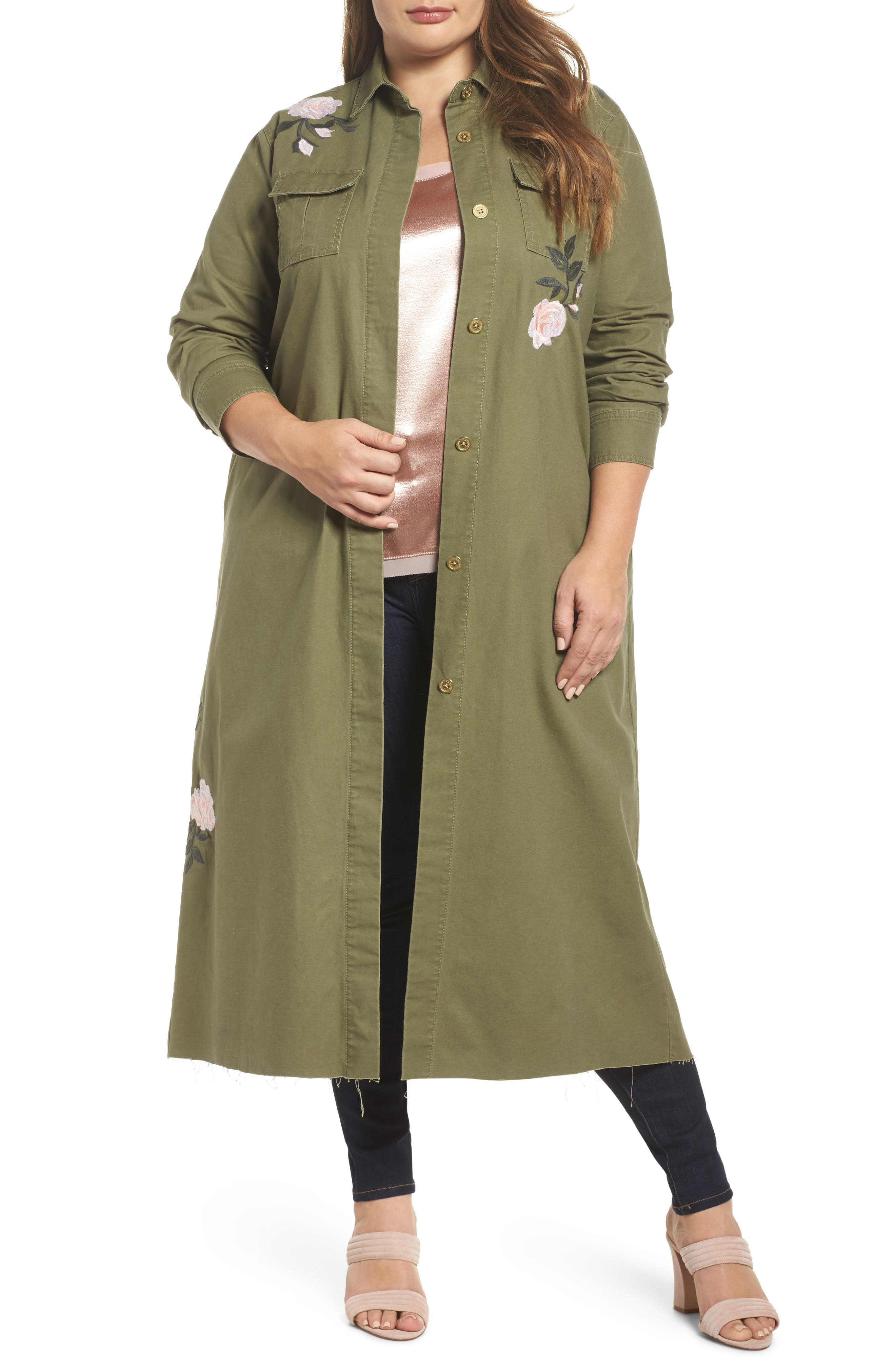 Embroidered Army Duster,                             Main thumbnail 1, color,                             ARMY