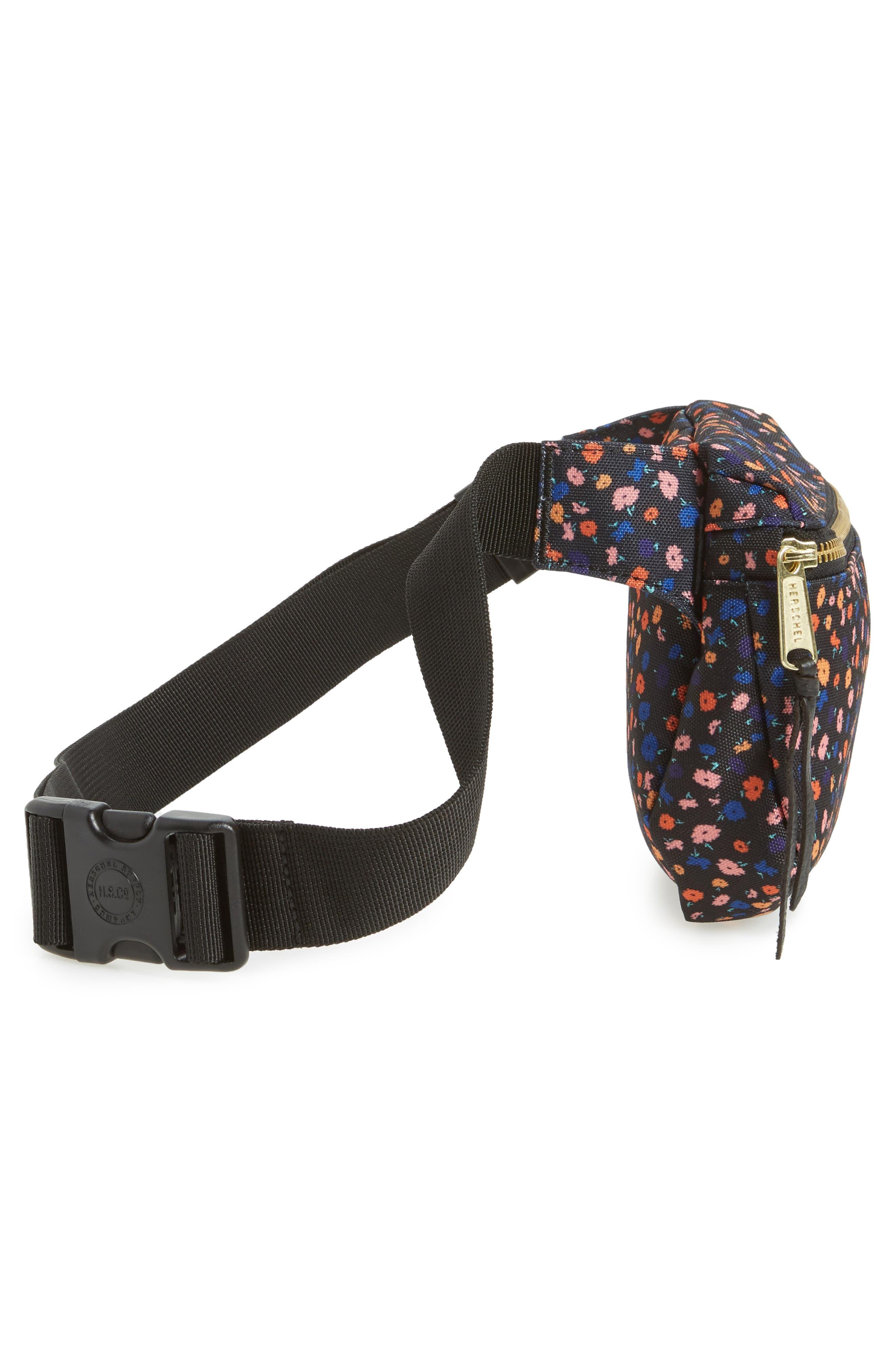 Fifteen Belt Bag,                             Alternate thumbnail 5, color,                             BLACK MINI FLORAL