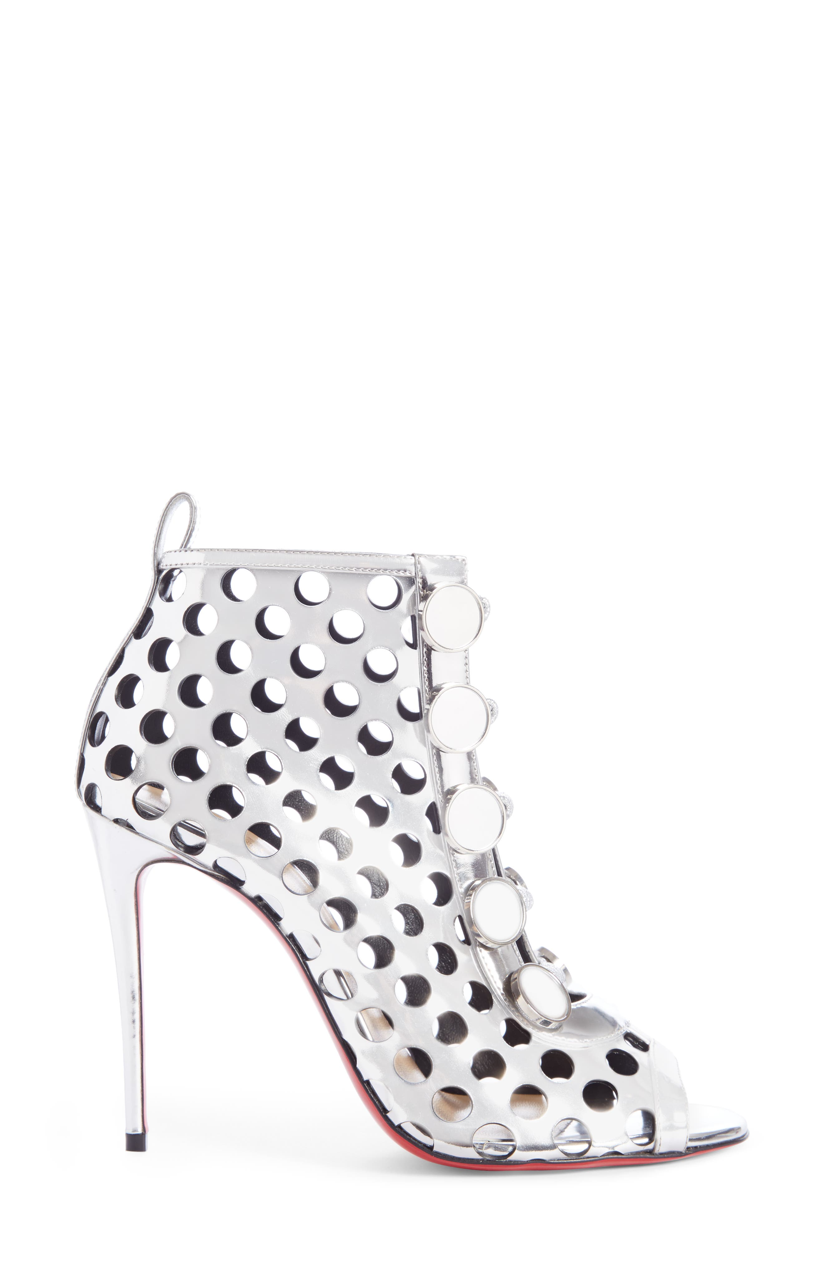 Planetarita Perforated Metallic Bootie,                             Alternate thumbnail 3, color,                             SILVER