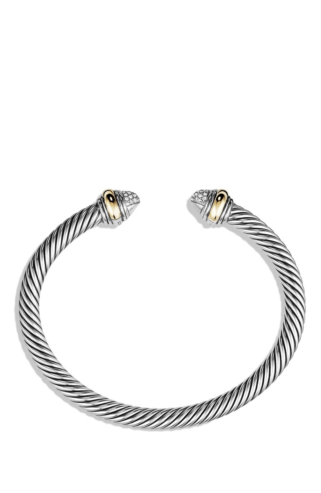 DAVID YURMAN,                             Cable Classics Bracelet with Diamonds & 14K Gold, 5mm,                             Alternate thumbnail 2, color,                             DIAMOND