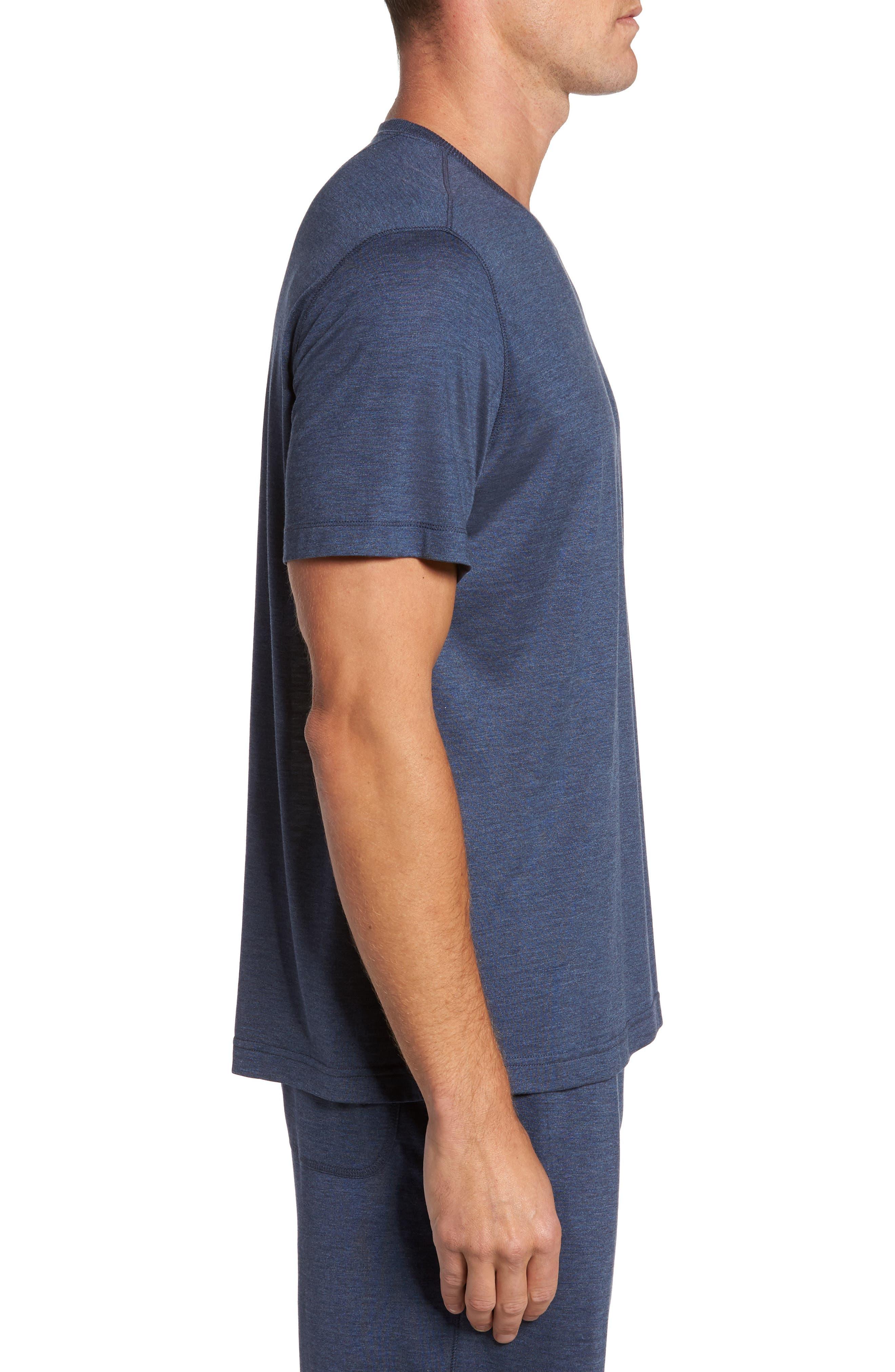 Silk & Cotton Crewneck T-Shirt,                             Alternate thumbnail 3, color,                             NAVY HEATHER