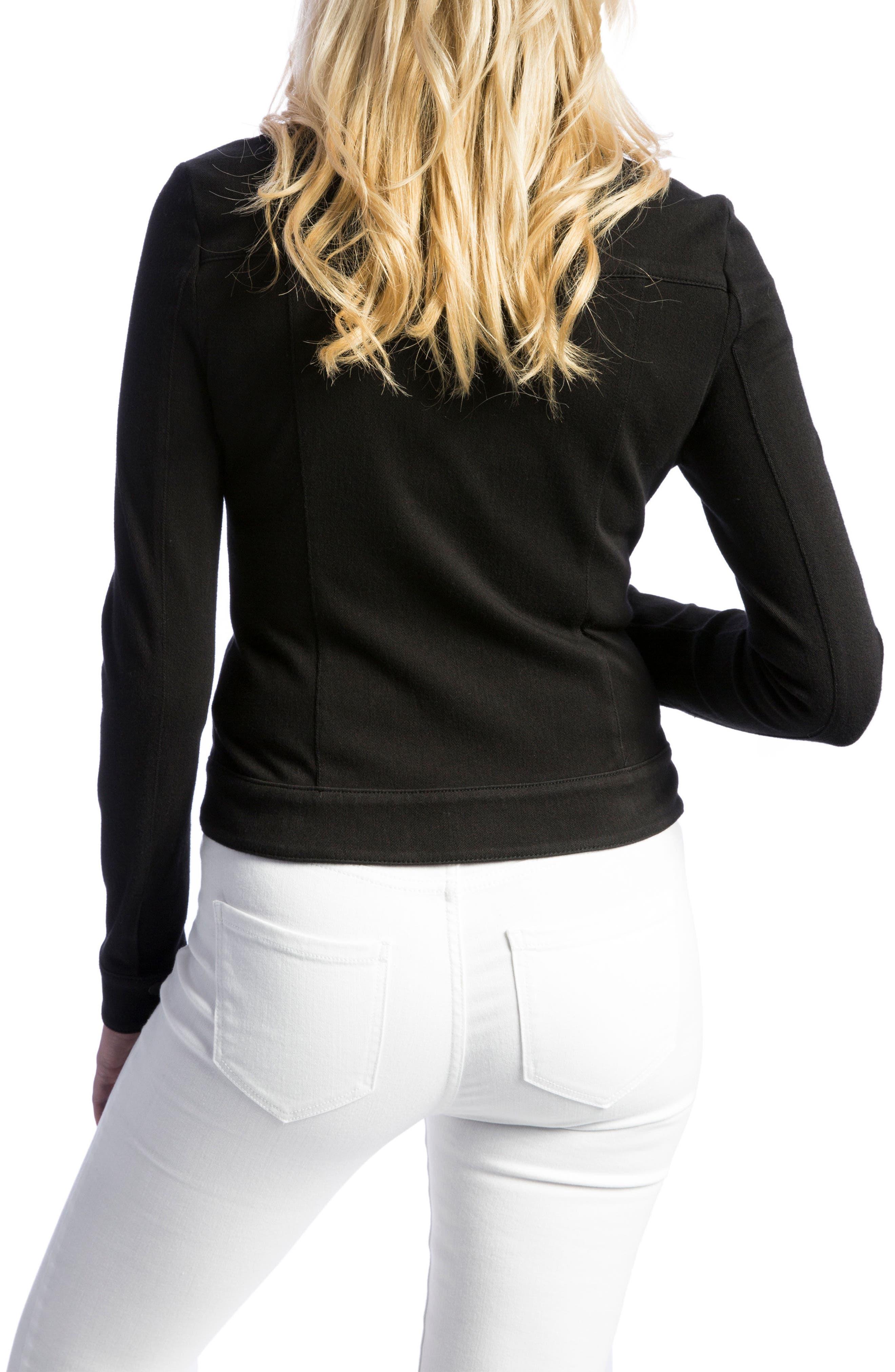 New Moto Stretch Cotton Jacket,                             Alternate thumbnail 4, color,                             BLACK RINSE
