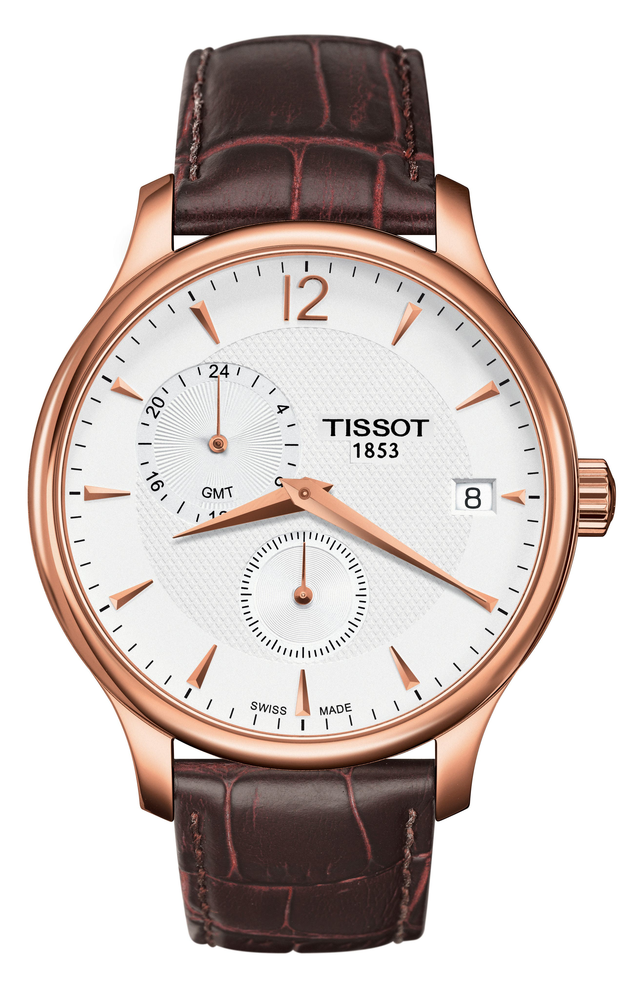 Tradition GMT Leather Strap Watch, 42mm,                         Main,                         color, BROWN/ ROSE GOLD