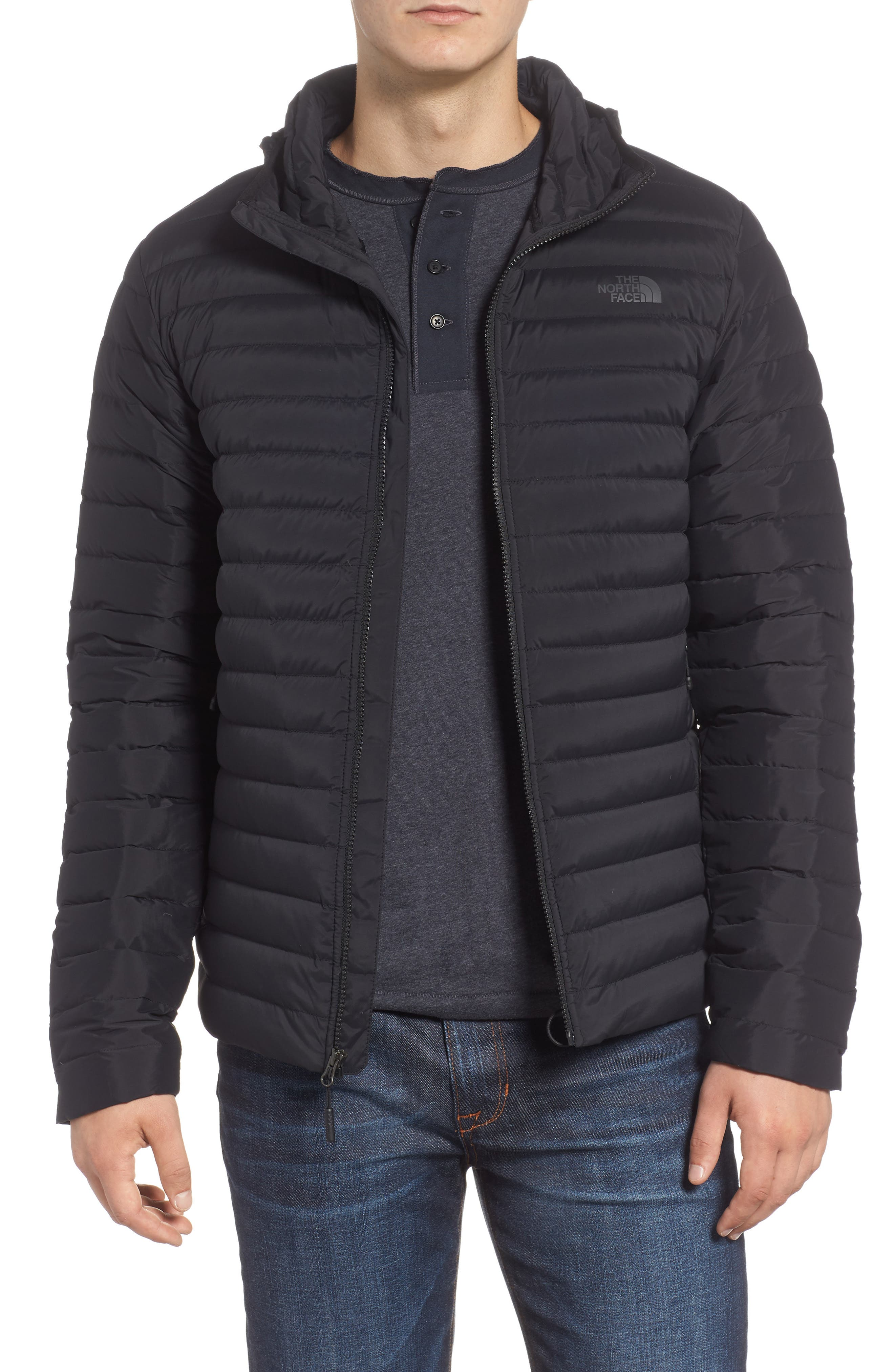 Packable Stretch Down Hooded Jacket,                             Main thumbnail 1, color,                             TNF BLACK/ TNF BLACK