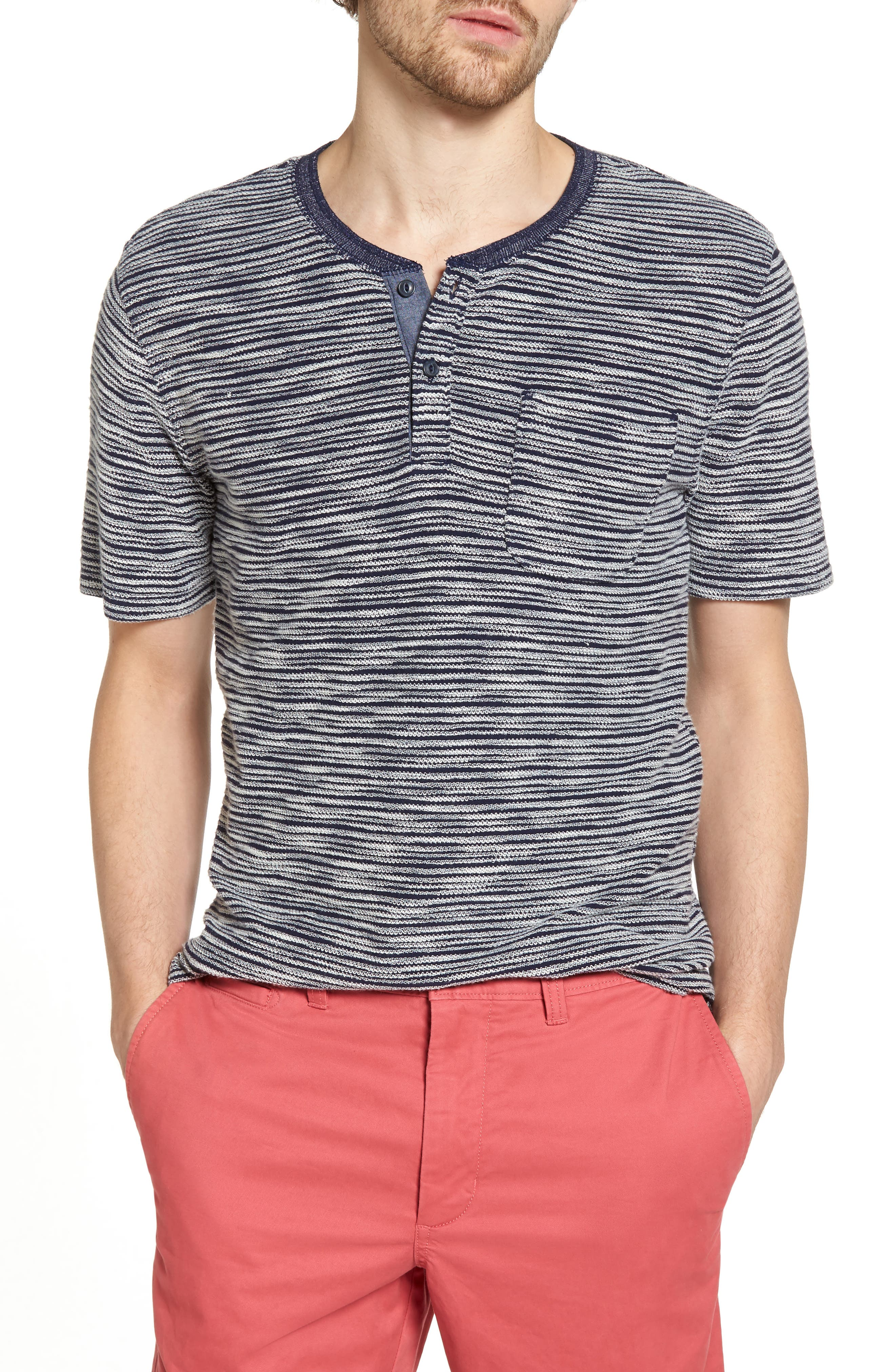 Textured Henley,                         Main,                         color, 410