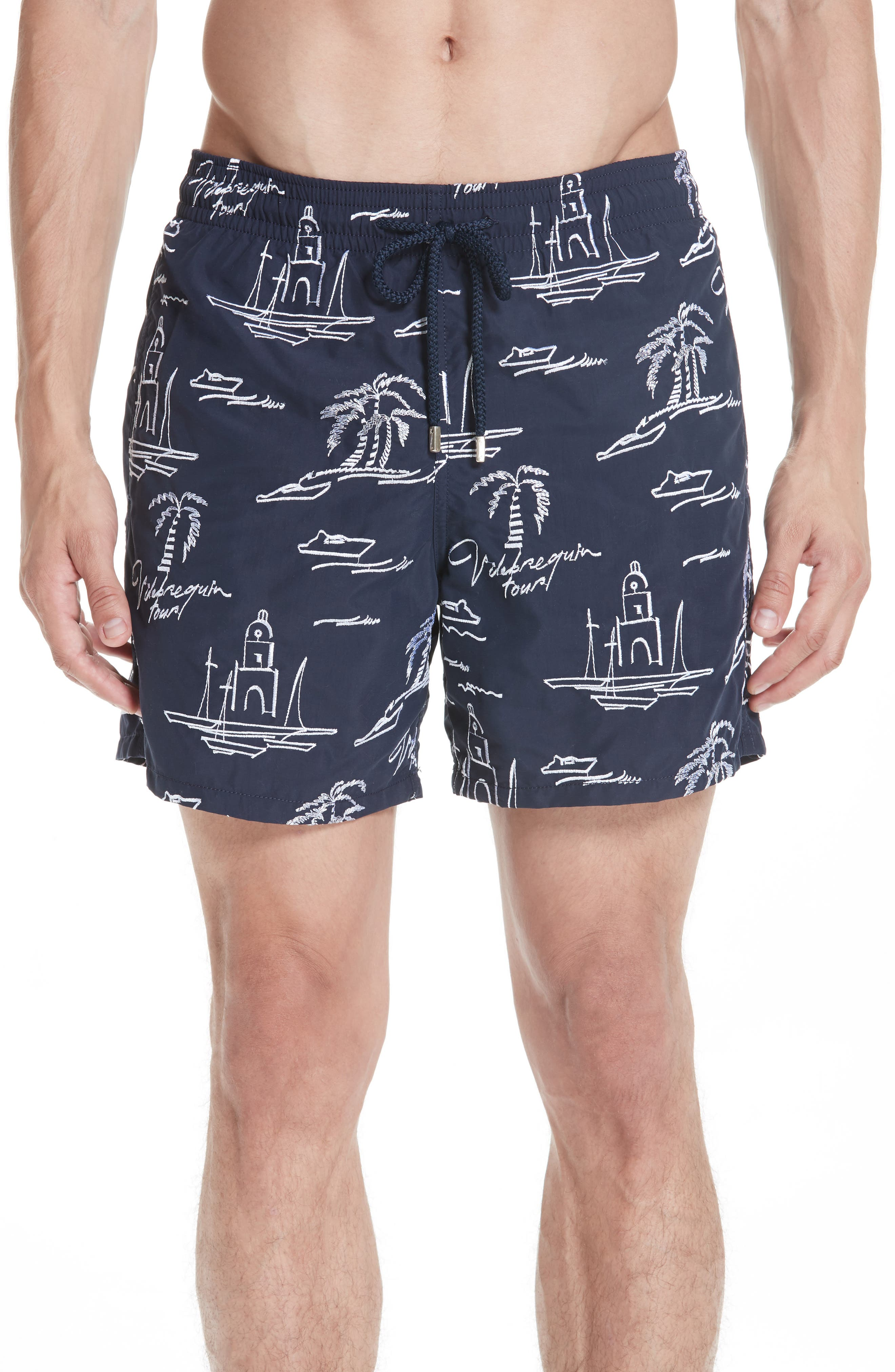 St. Tropez Embroidered Swim Trunks,                         Main,                         color, BLUE