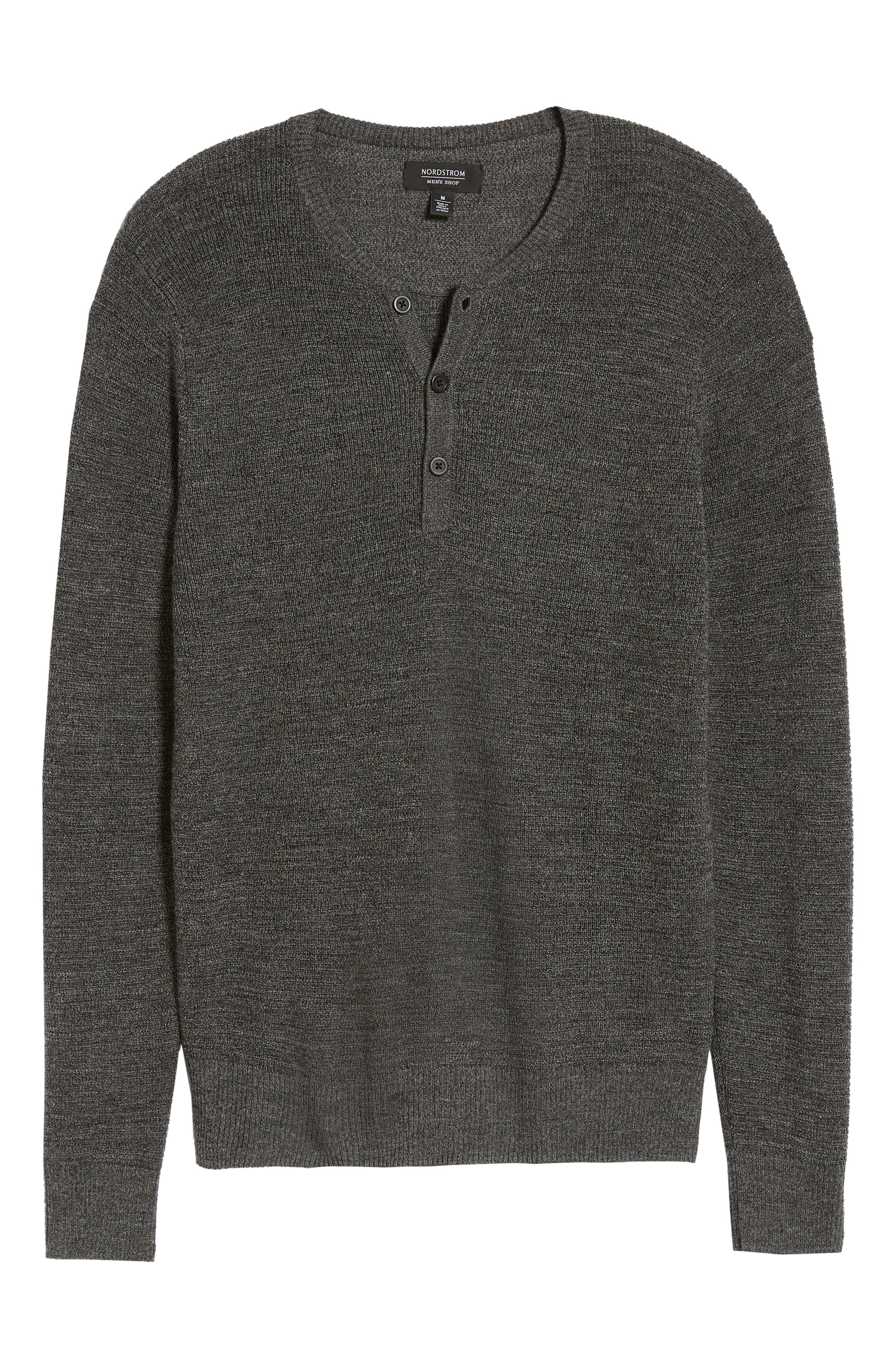 Merino Wool Blend Thermal Henley,                             Alternate thumbnail 6, color,                             GREY PHANTOM