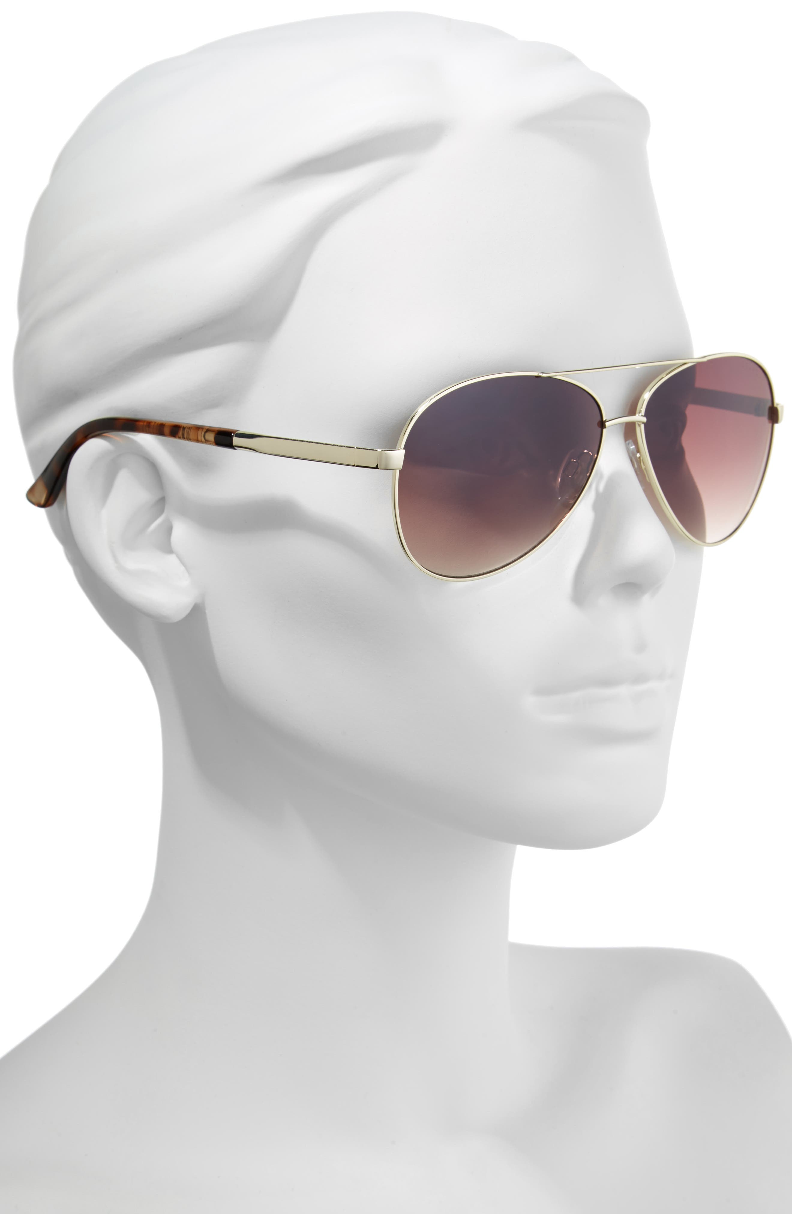 Belle Mare 54mm Aviator Sunglasses,                             Alternate thumbnail 2, color,                             GOLD