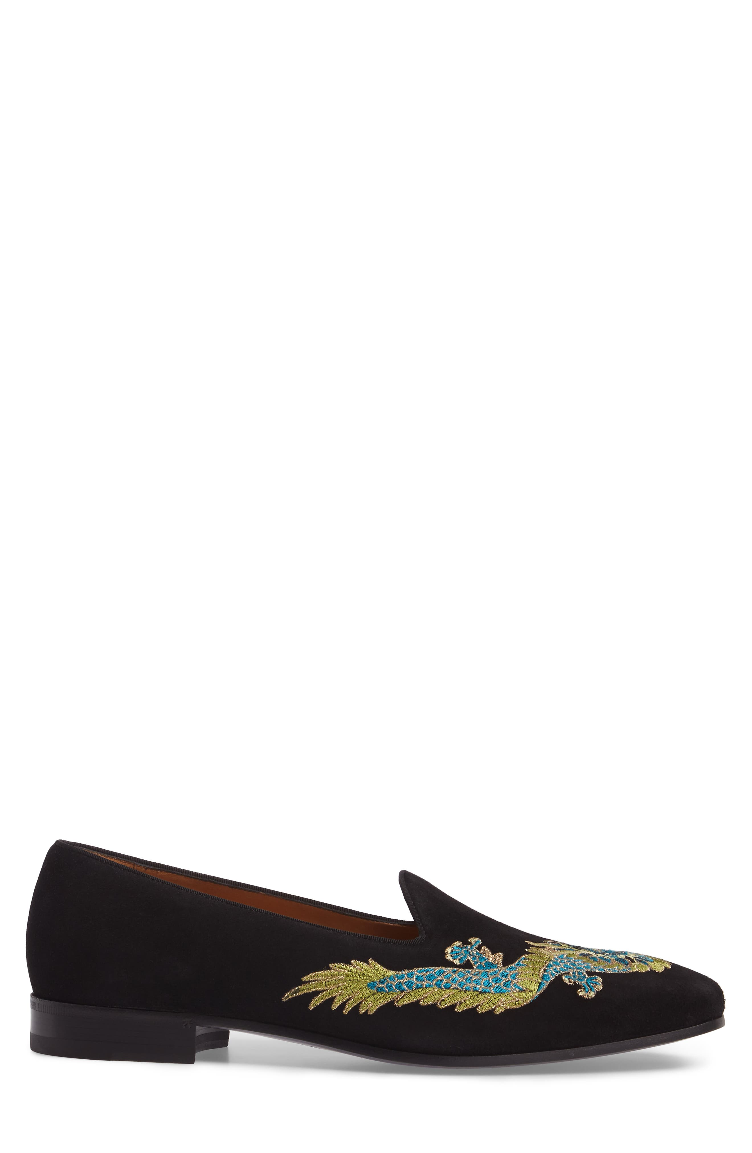 Dragon Embroidered Suede Loafer,                             Alternate thumbnail 3, color,                             BLACK SUEDE