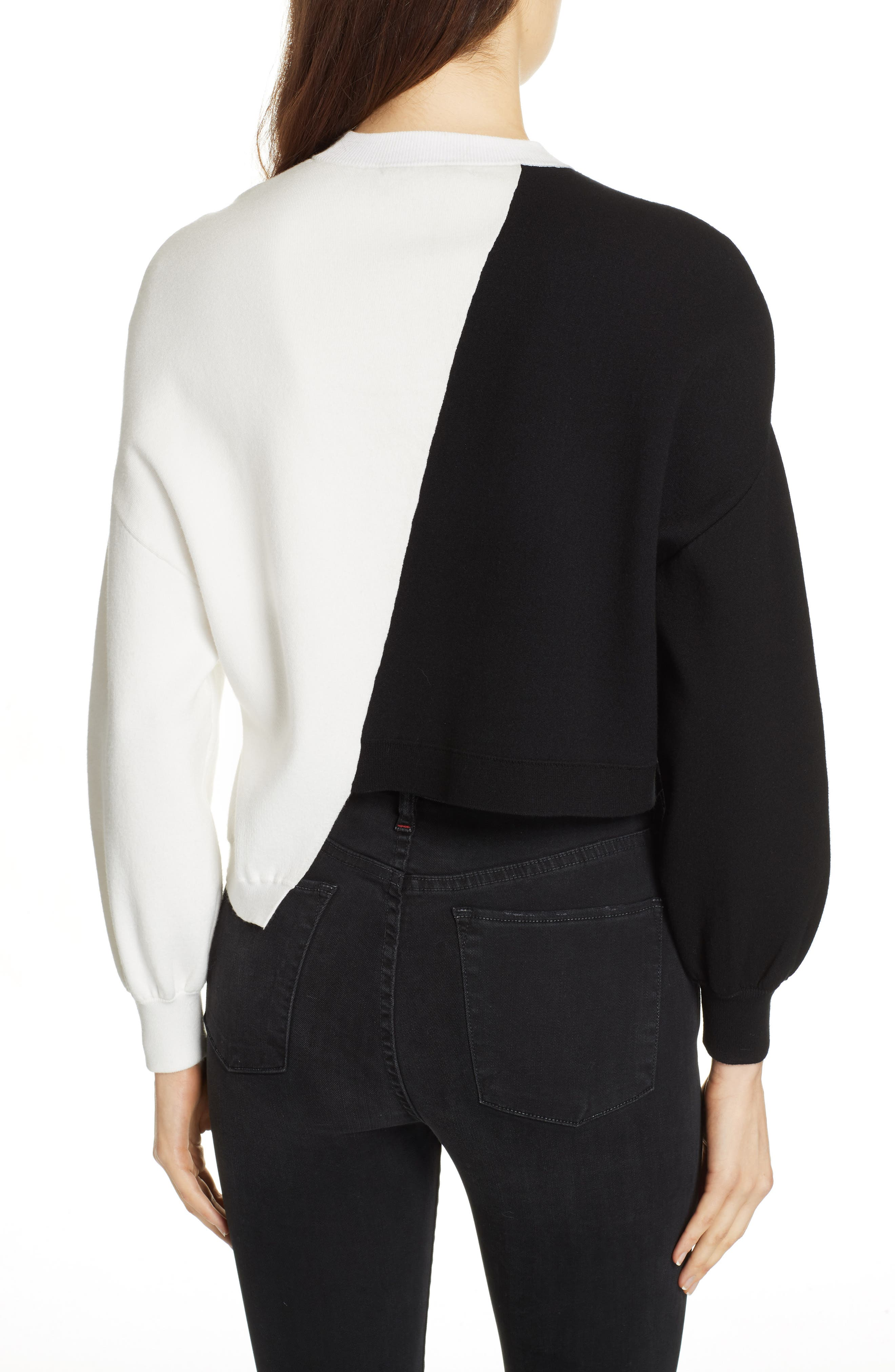 Elyse Asymmetrical Crop Pullover,                             Alternate thumbnail 2, color,                             BLACK/ WHITE