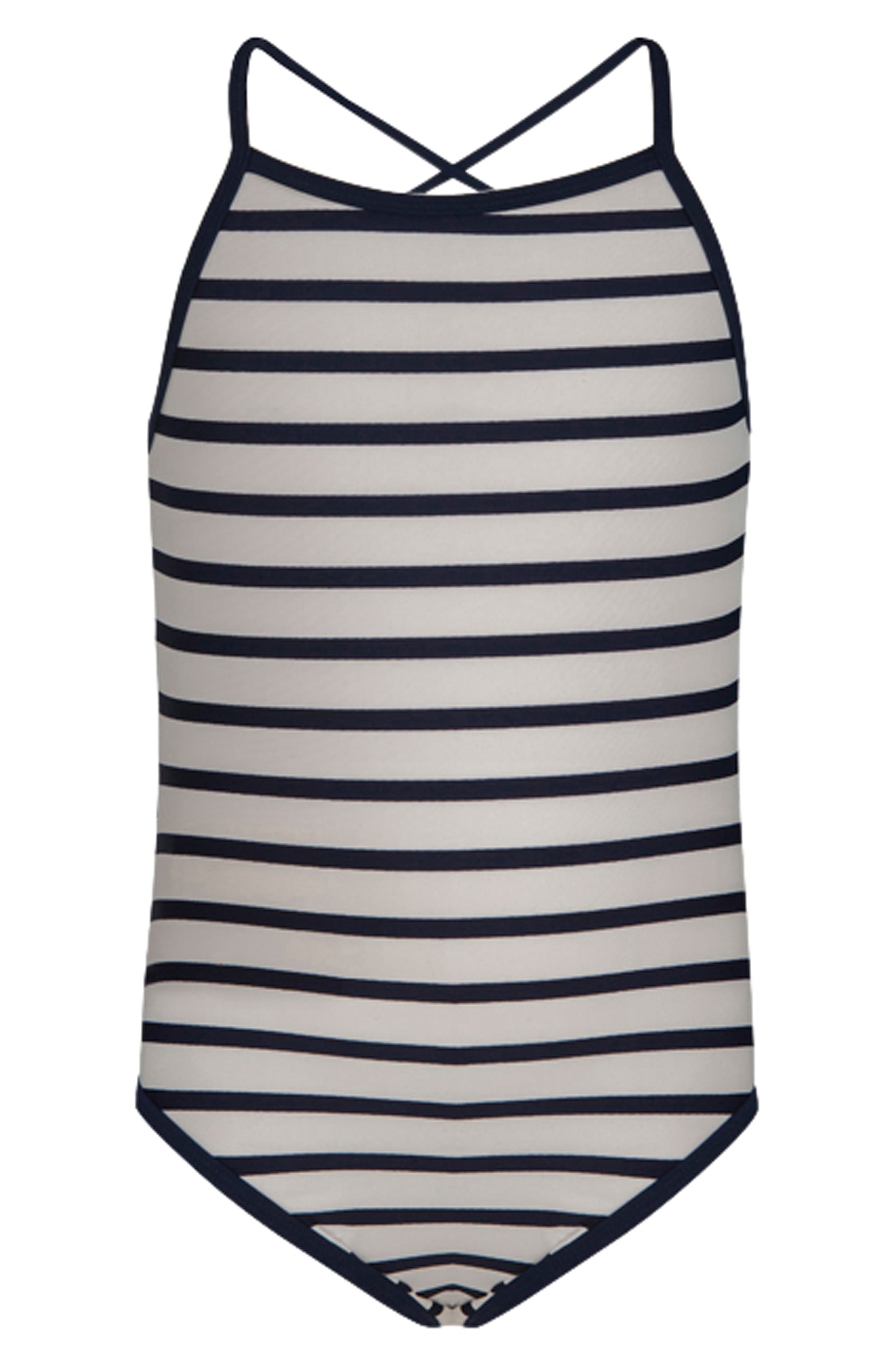 Classic Stripe One-Piece Swimsuit,                             Main thumbnail 1, color,                             WHITE/ NAVY STRIPE