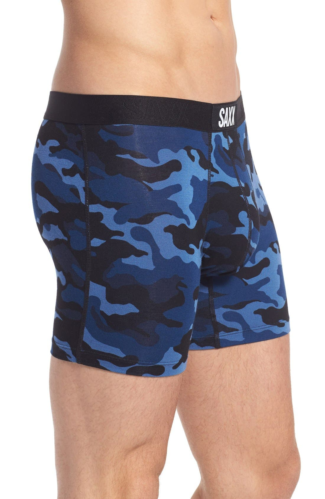 Vibe Stretch Boxer Briefs,                             Alternate thumbnail 3, color,                             BLUE CAMO