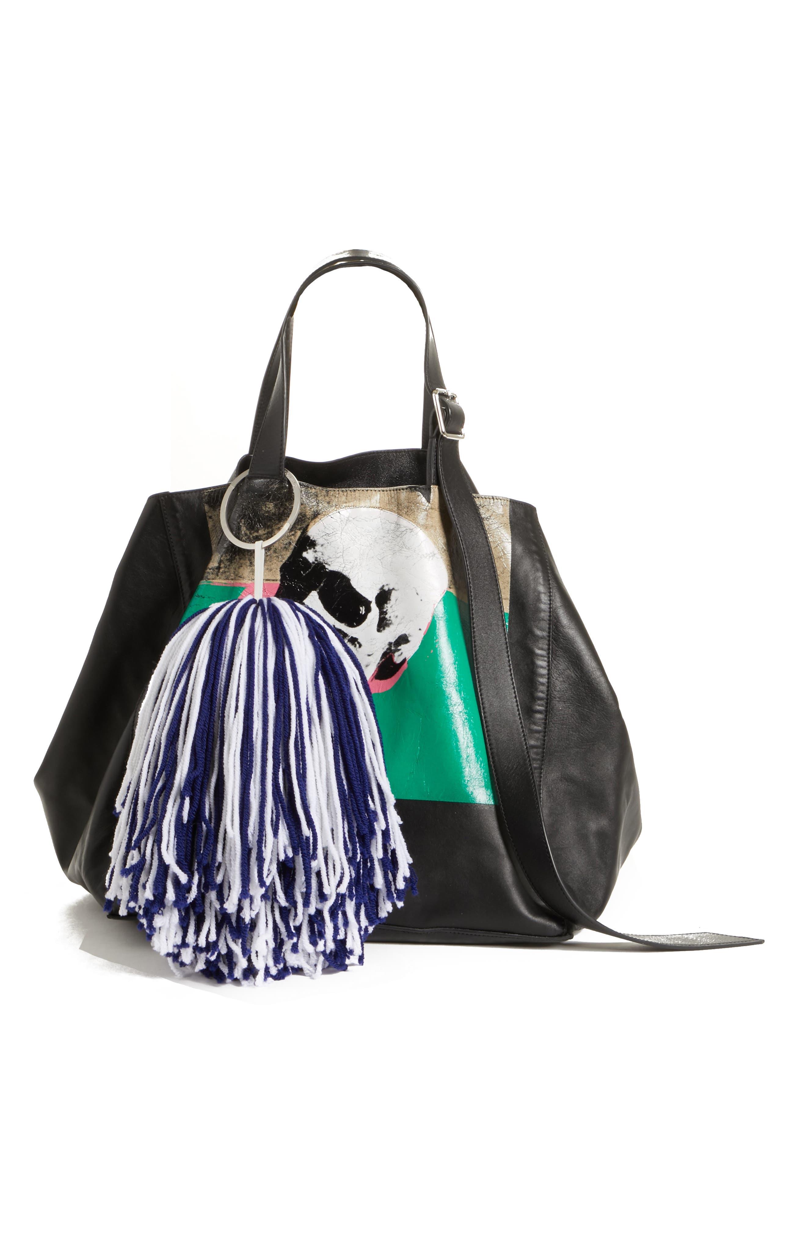 Pompom Bag Charm,                             Alternate thumbnail 2, color,                             ROYAL BLUE/ WHITE
