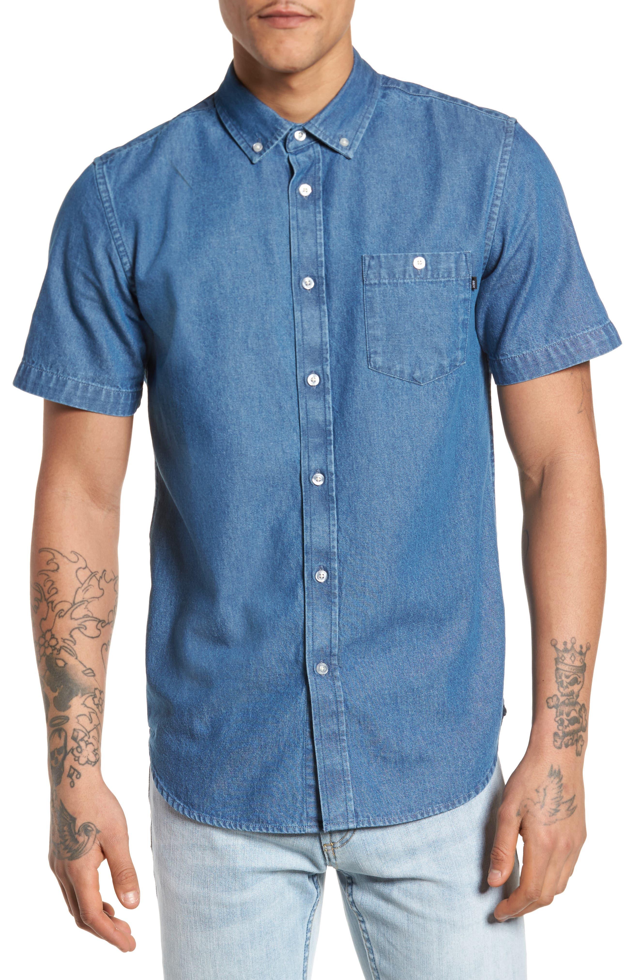 Kebble Denim Shirt,                         Main,                         color, 450