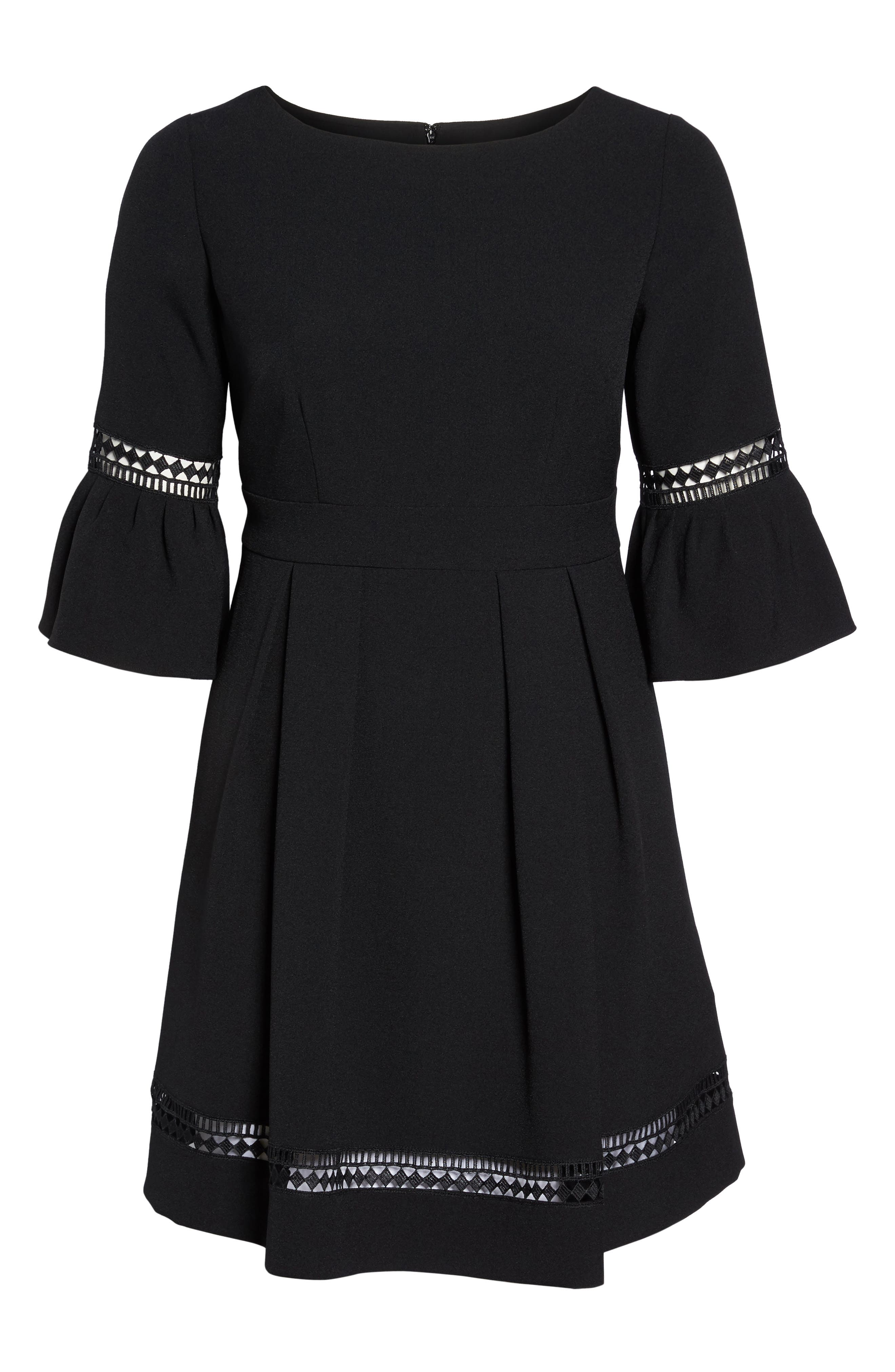 Bell Sleeve Fit & Flare Dress,                             Alternate thumbnail 7, color,                             BLACK