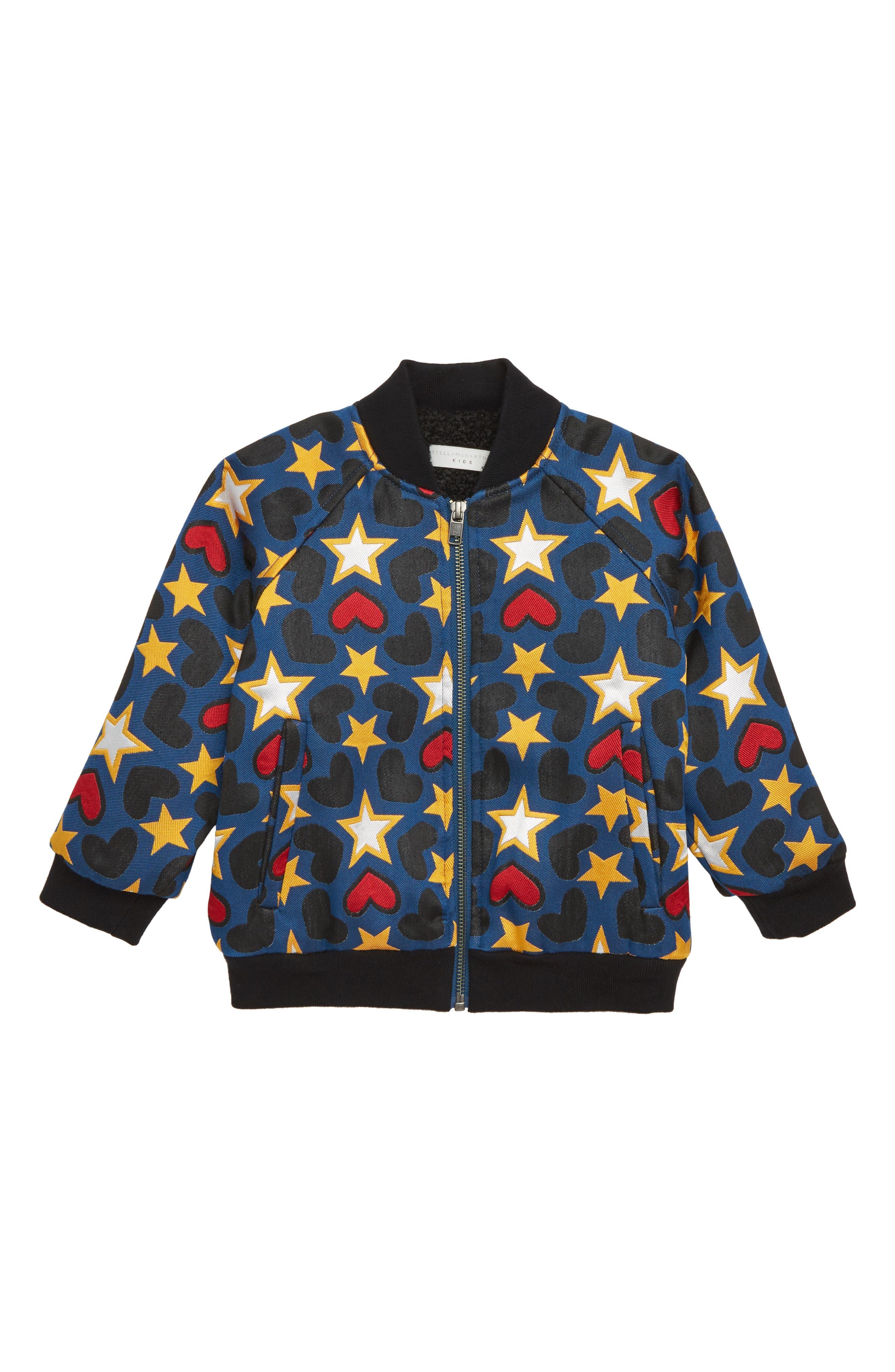 Joan Heart & Star Bomber Jacket,                             Main thumbnail 1, color,                             MULTI