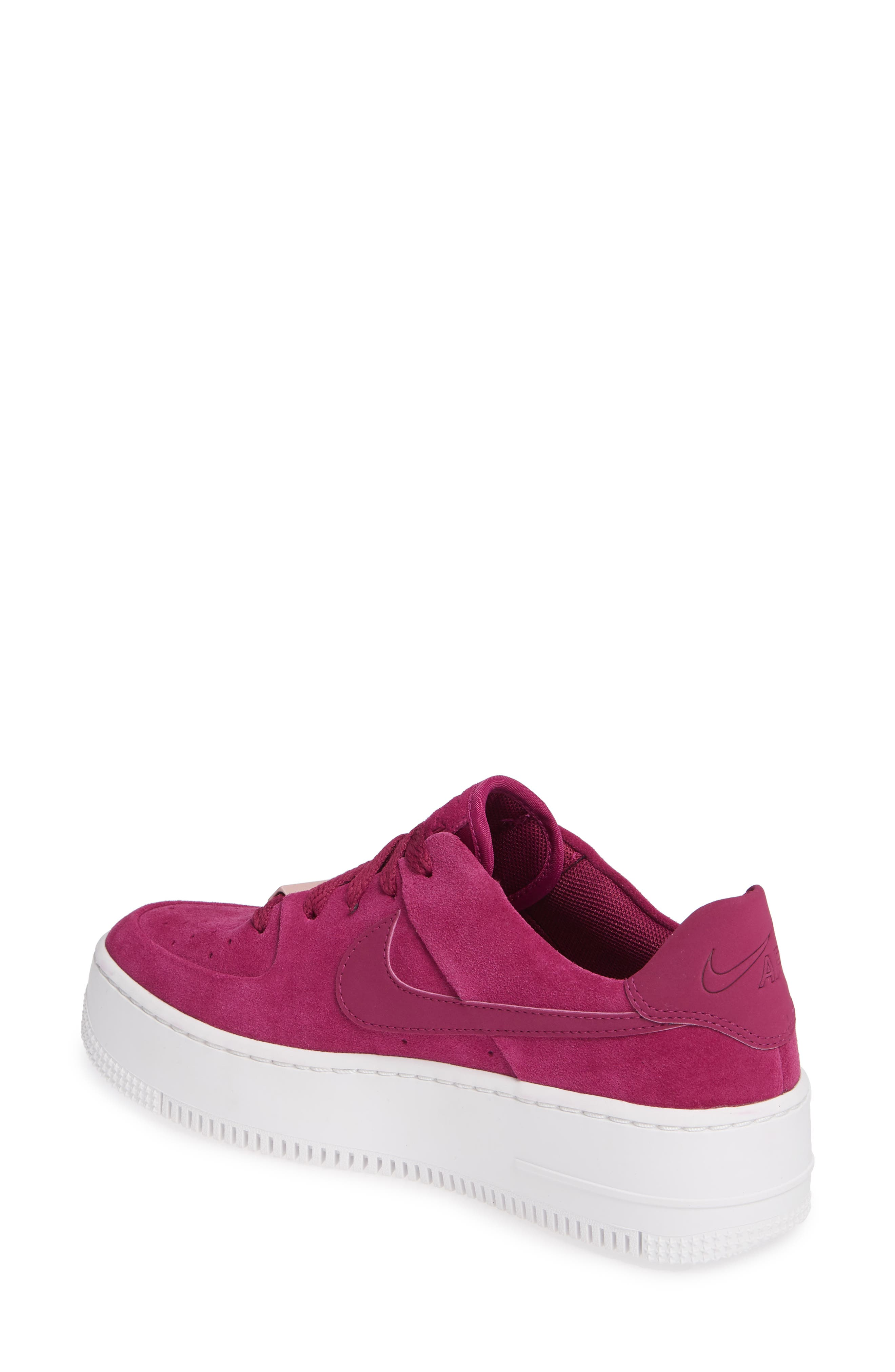 NIKE,                             Air Force 1 Sage Low Platform Sneaker,                             Alternate thumbnail 2, color,                             TRUE BERRY/ PLUM CHALK