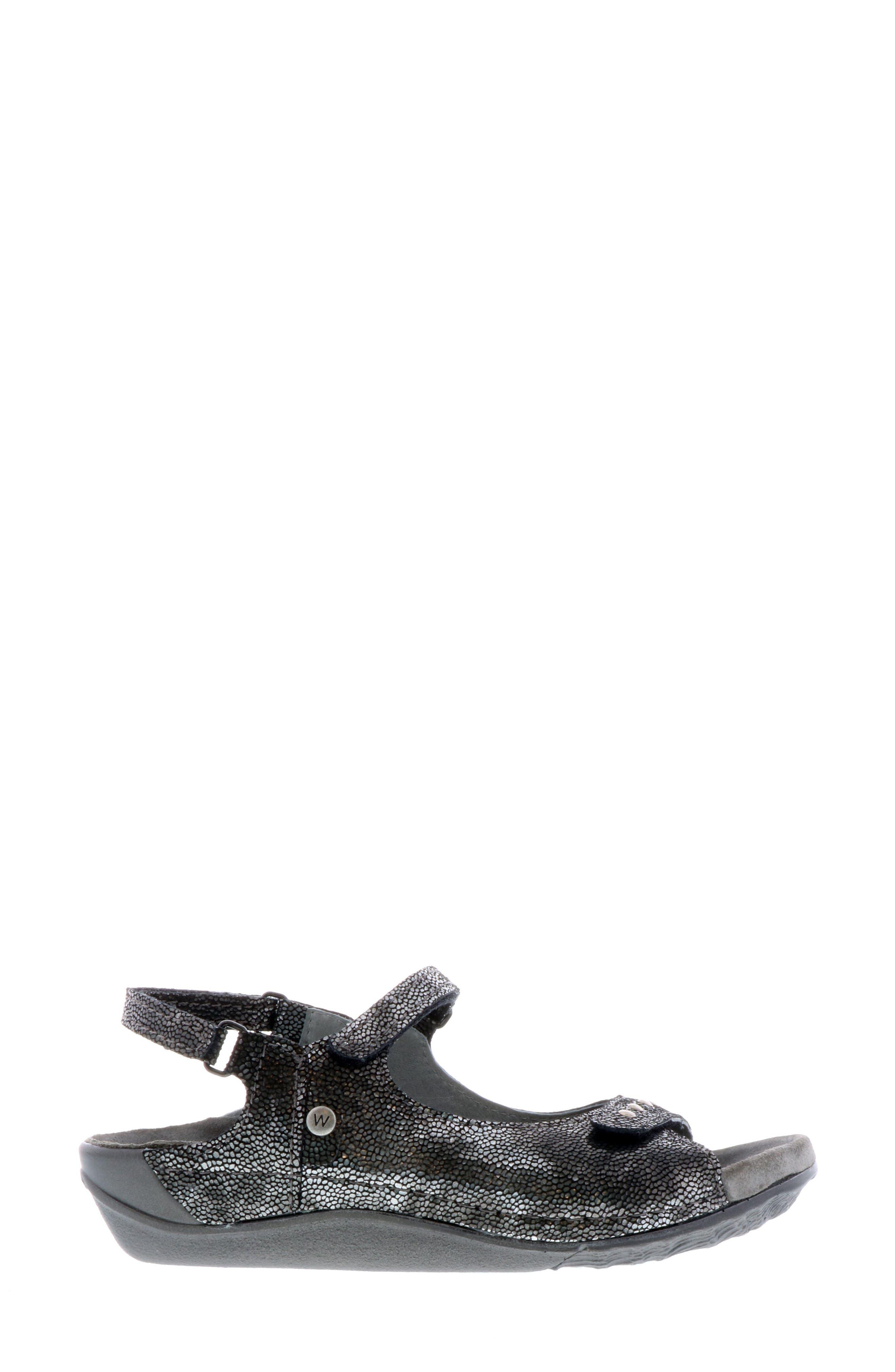 Cortez Sandal,                             Alternate thumbnail 3, color,                             BLACK LEATHER