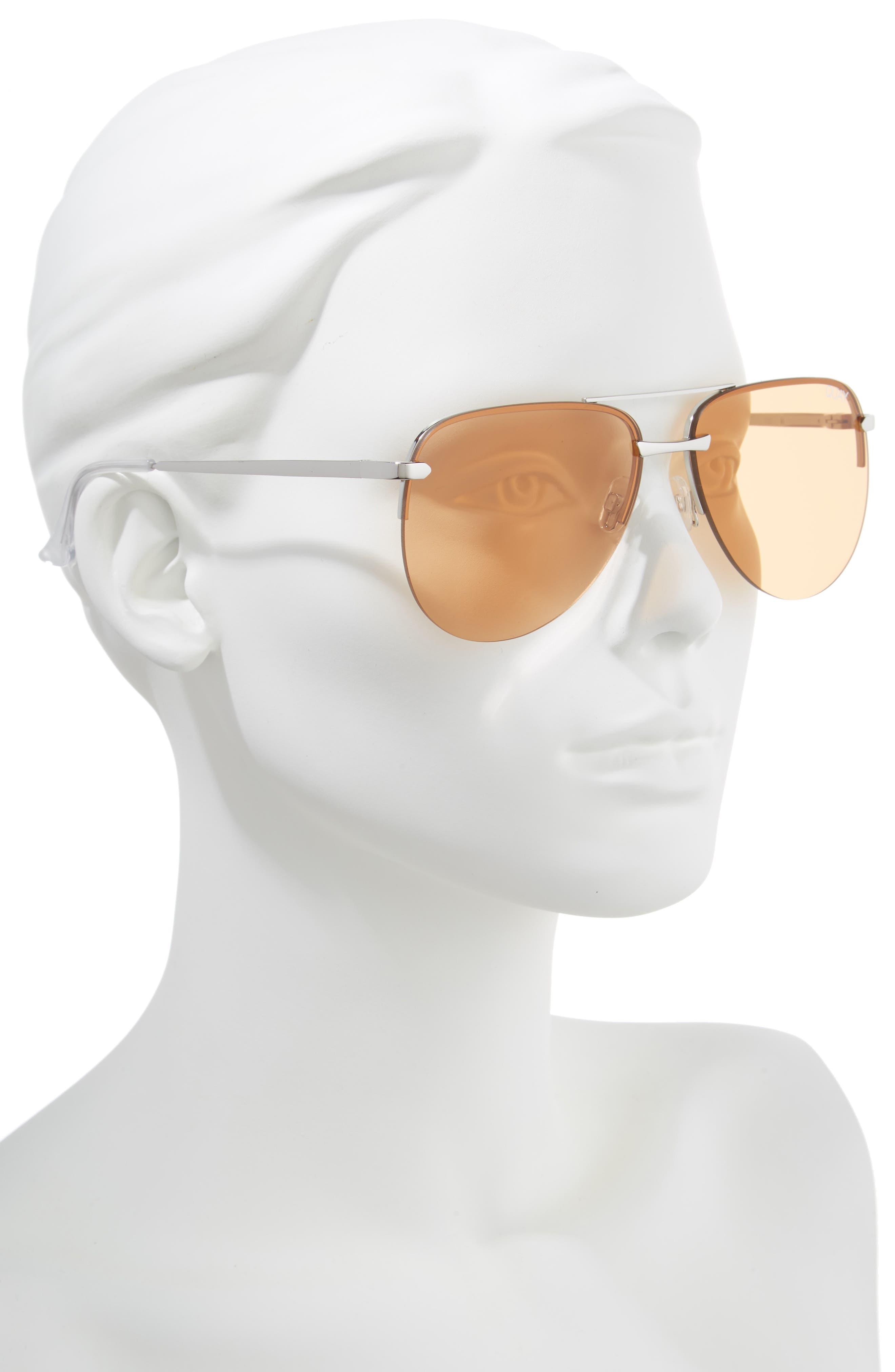 The Playa 64mm Aviator Sunglasses,                             Alternate thumbnail 2, color,                             SILVER/ORANGE