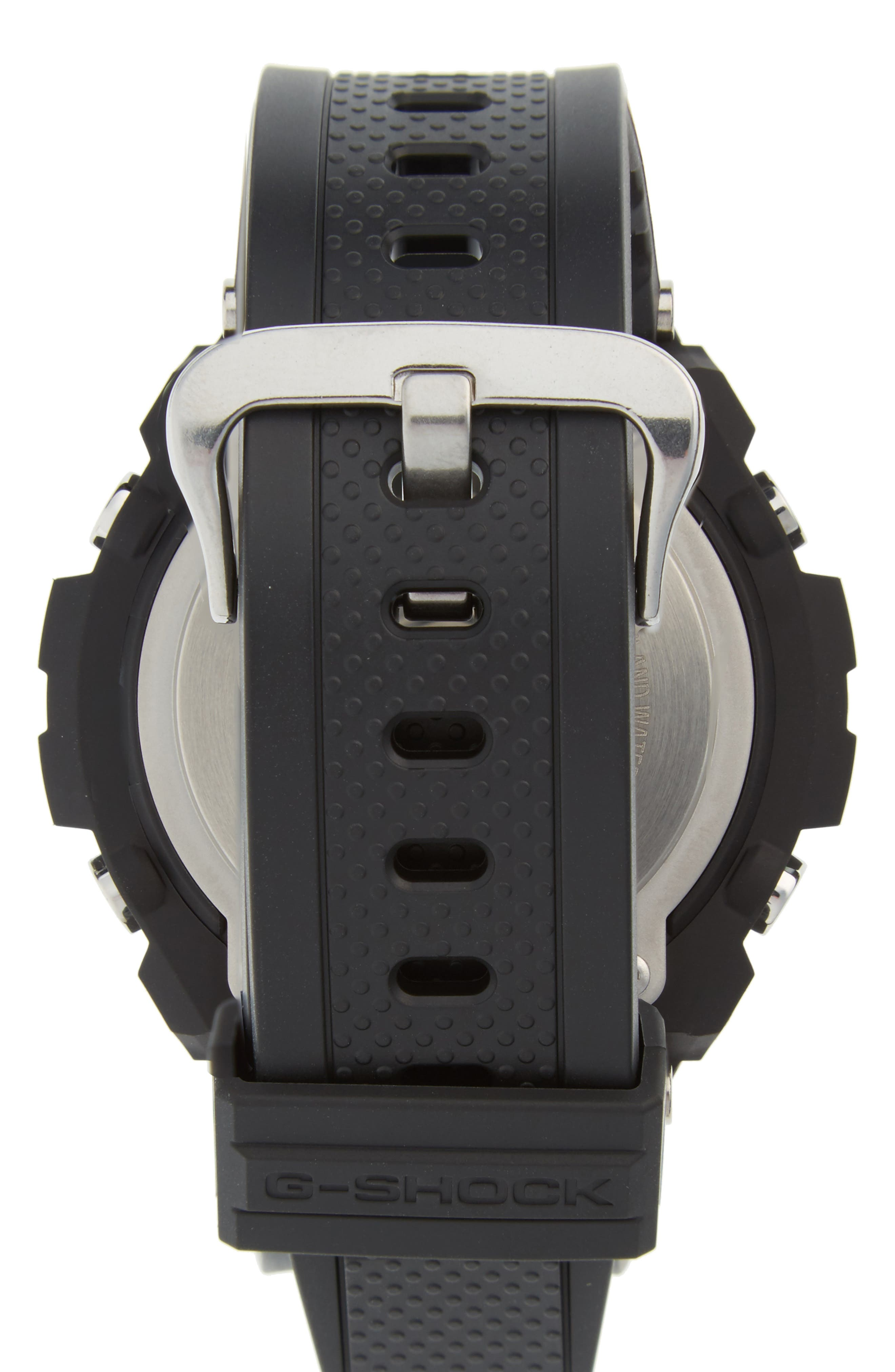 G-Shock 'G-Steel' Ana-Digi Resin Strap Watch, 59mm x 52mm,                             Alternate thumbnail 2, color,                             BLACK