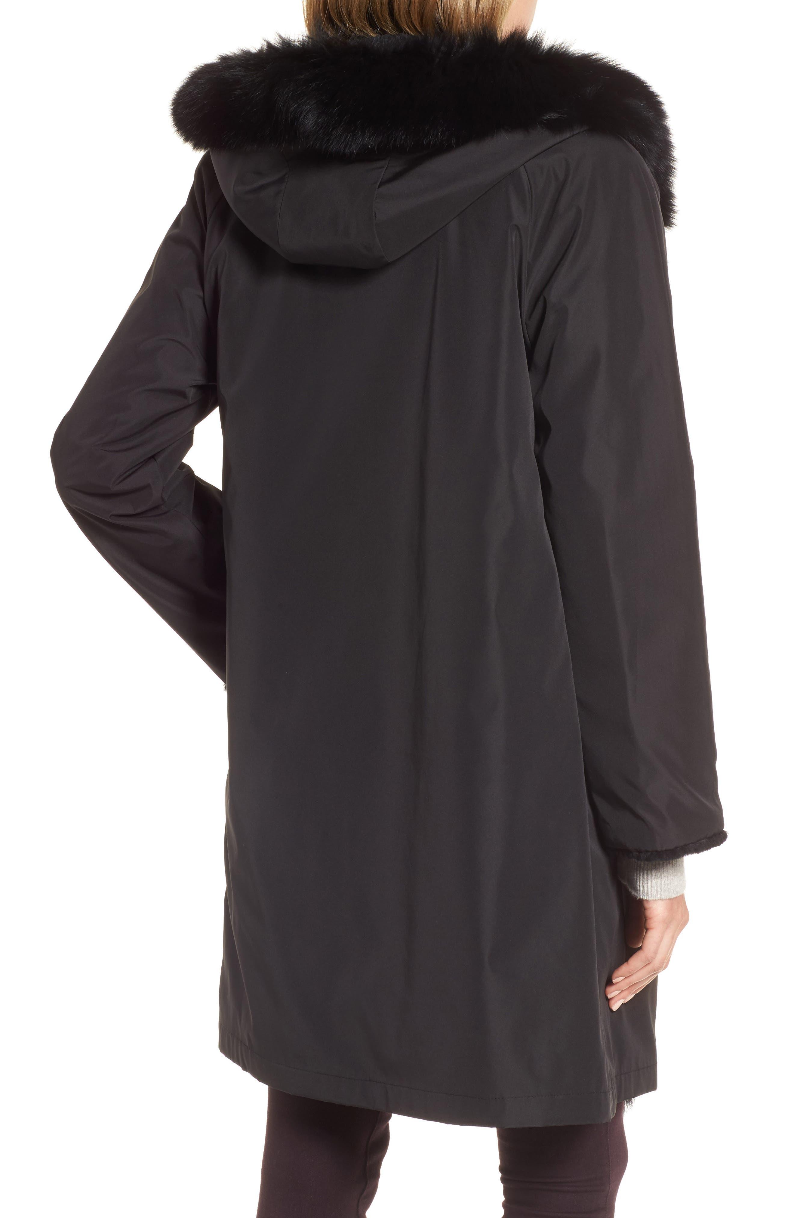 Hooded Reversible Genuine Fur Coat,                             Alternate thumbnail 2, color,                             003