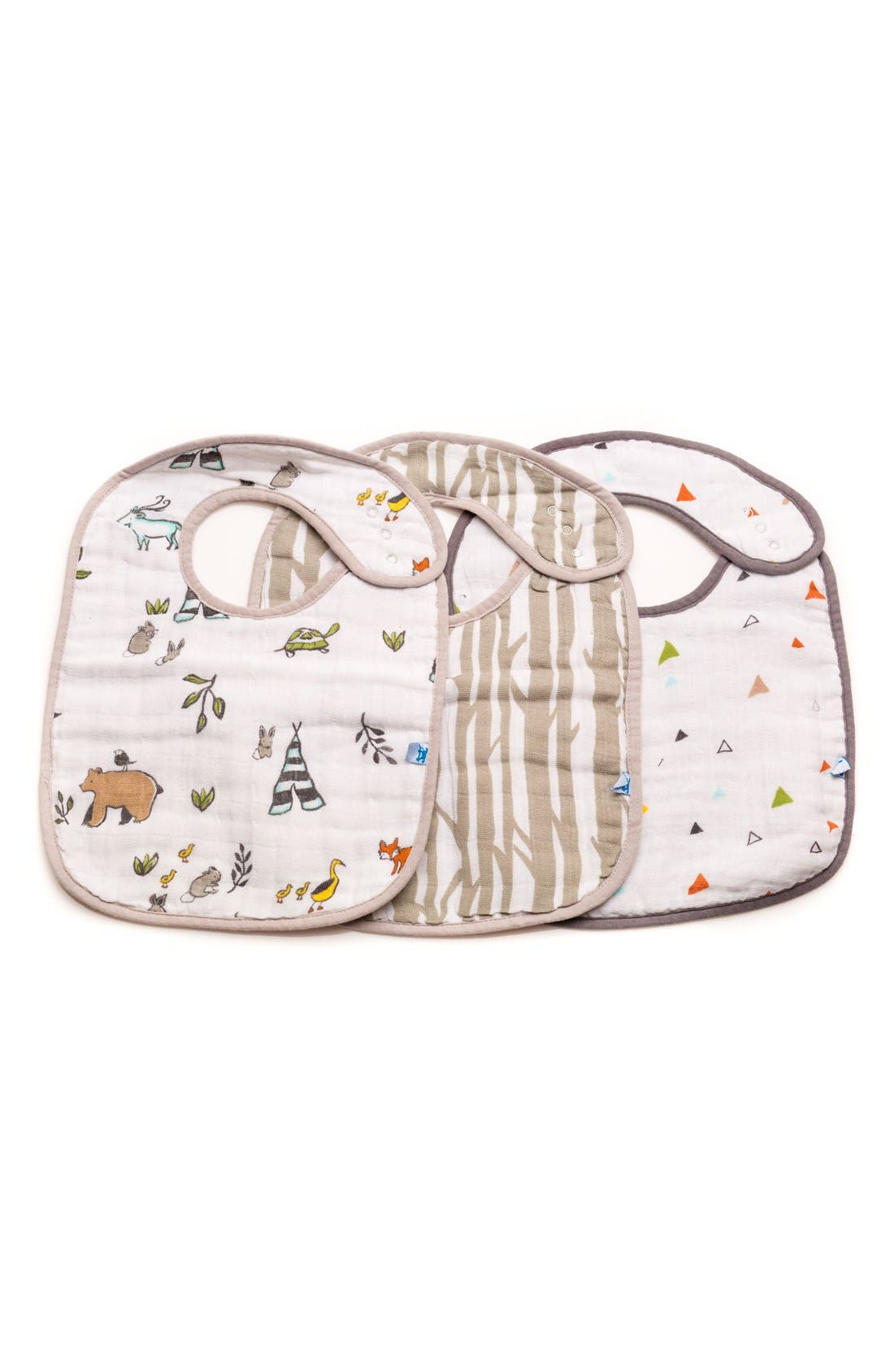 3-Pack Classic Cotton Muslin Bibs,                             Main thumbnail 1, color,                             FOREST FRIENDS